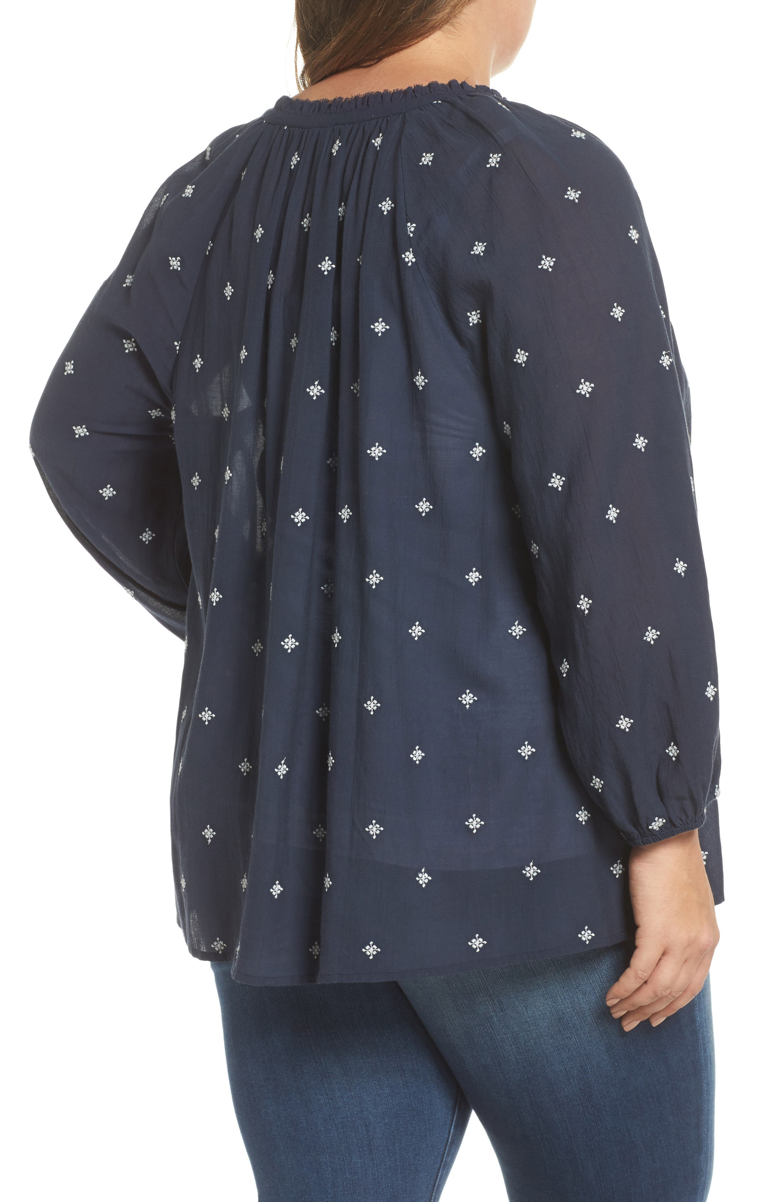 Embroidered Peasant Top,                             Alternate thumbnail 2, color,                             Navy Floral