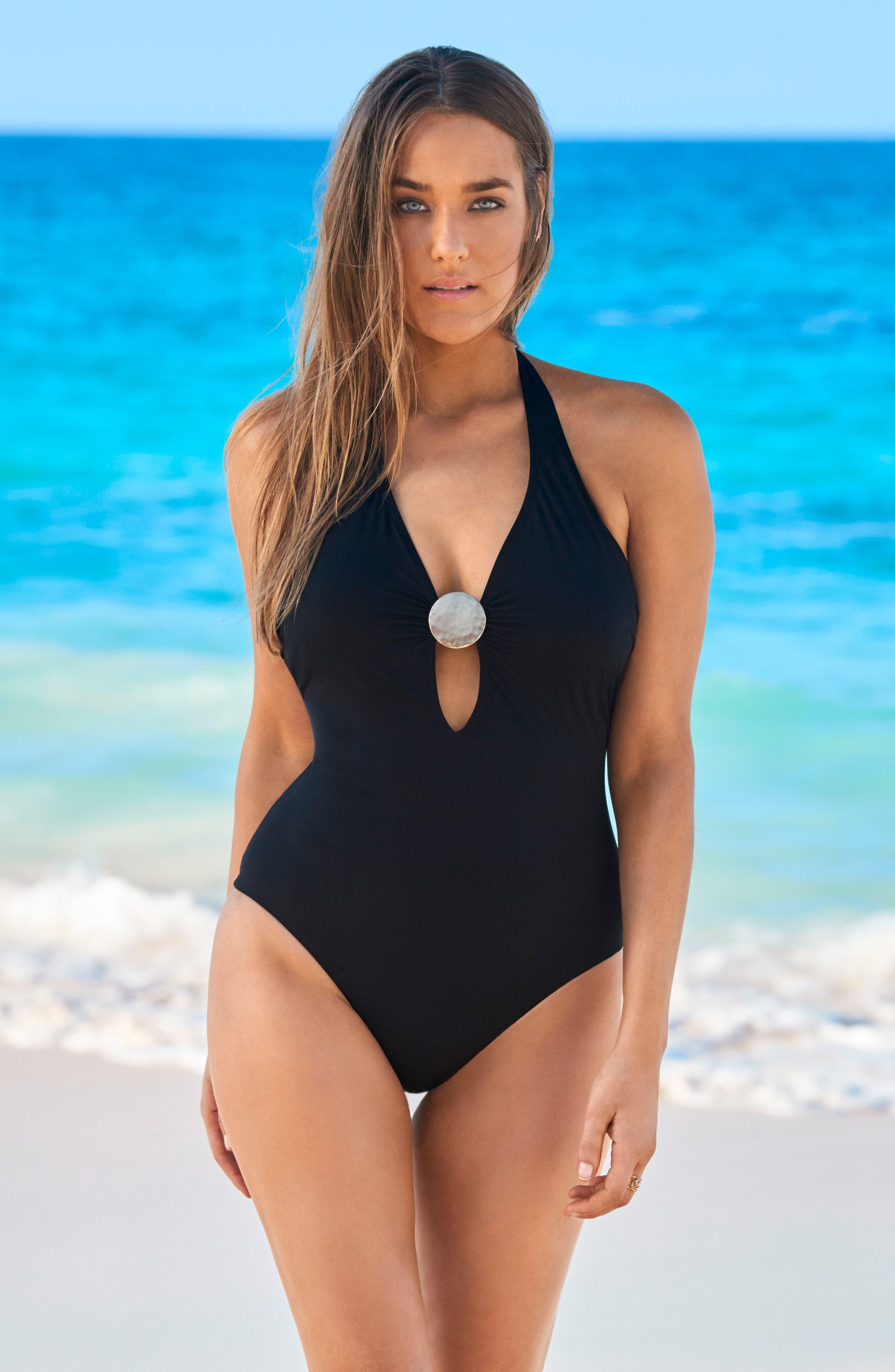Laura Mars Bianca One-Piece Swimsuit,                             Alternate thumbnail 3, color,                             Black