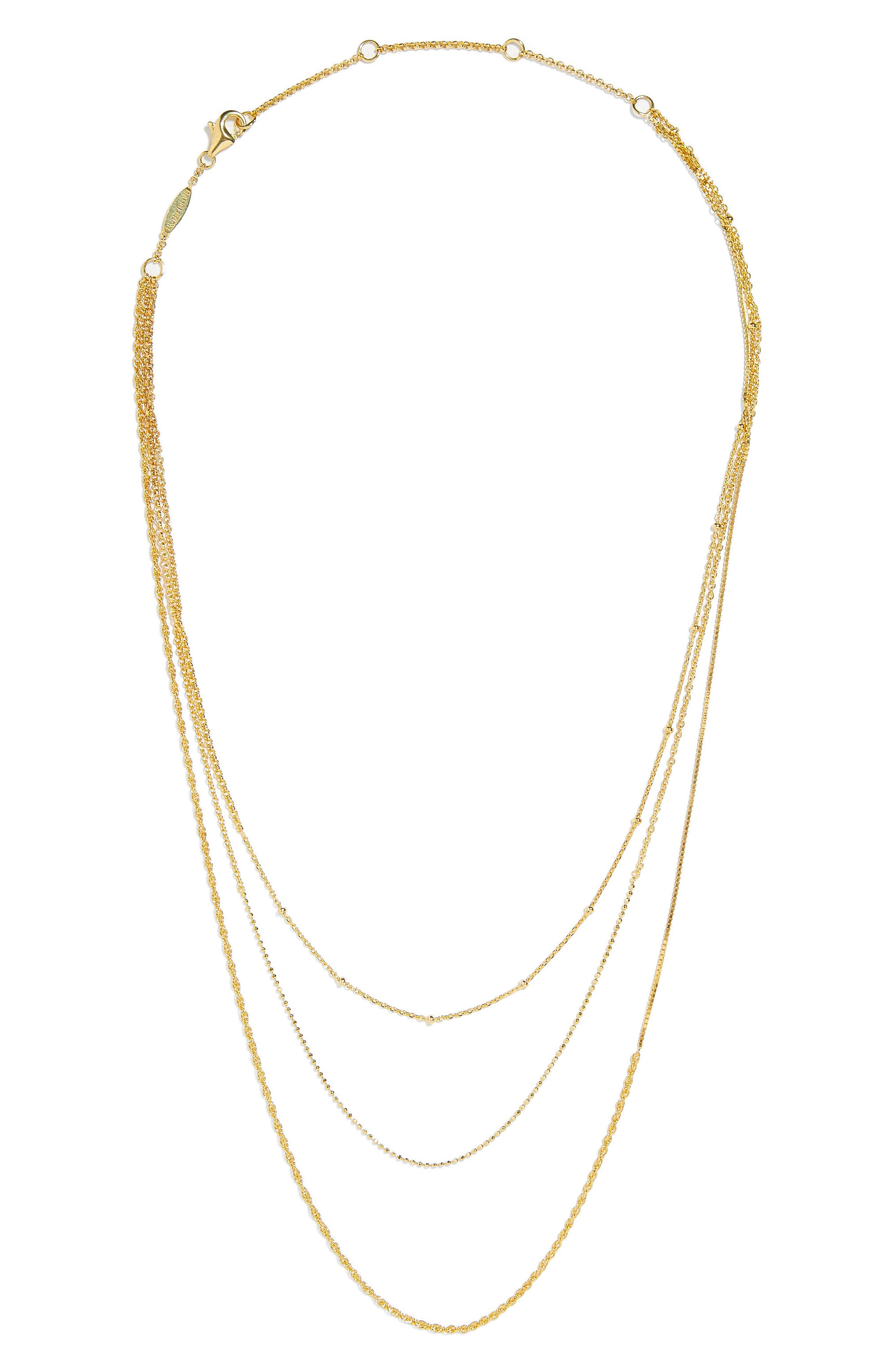 Lumina Everyday Fine Triple Strand Chain Necklace,                             Main thumbnail 1, color,                             Gold
