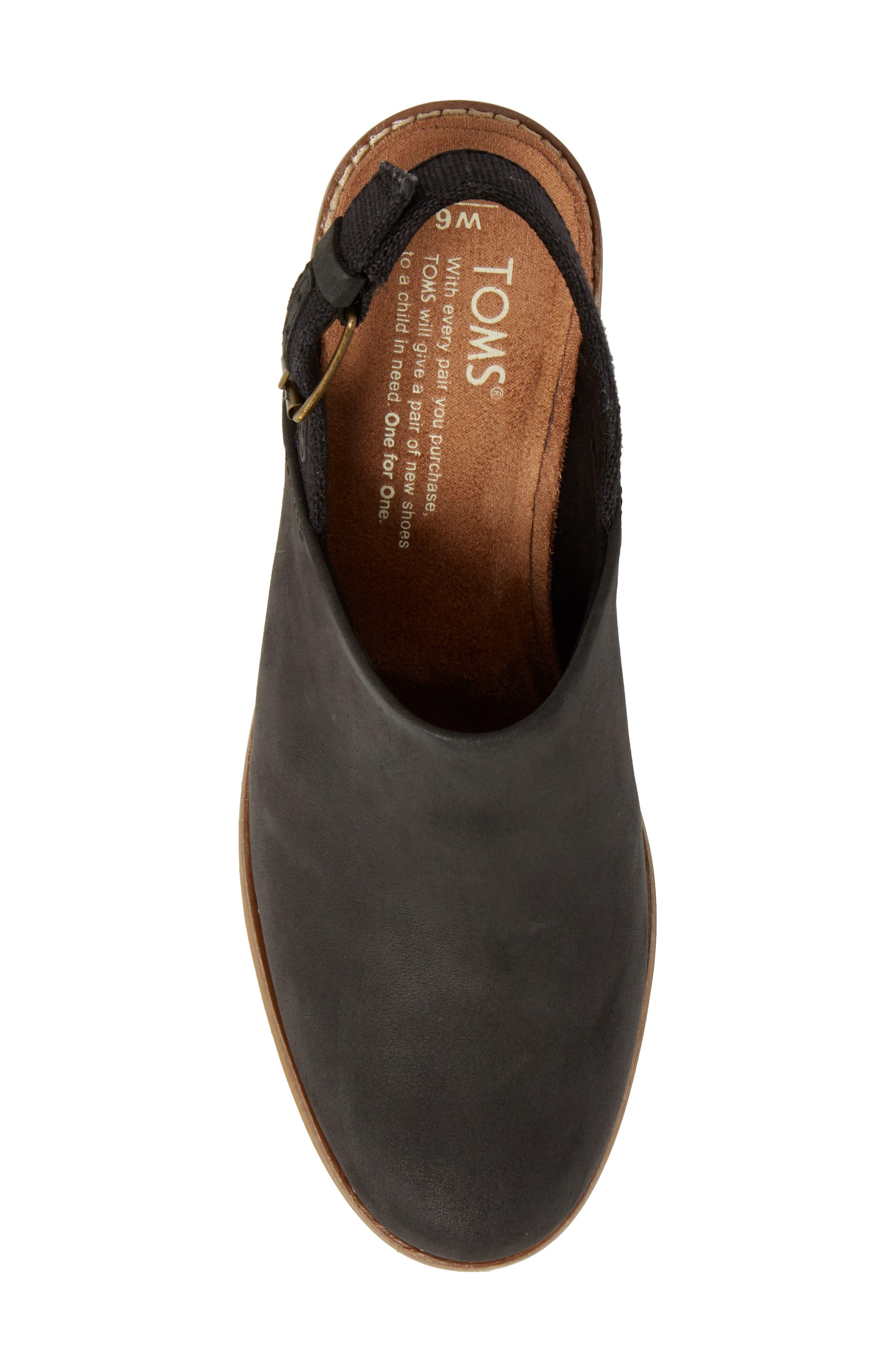 Leila Slingback Sandal,                             Alternate thumbnail 5, color,                             Black Leather
