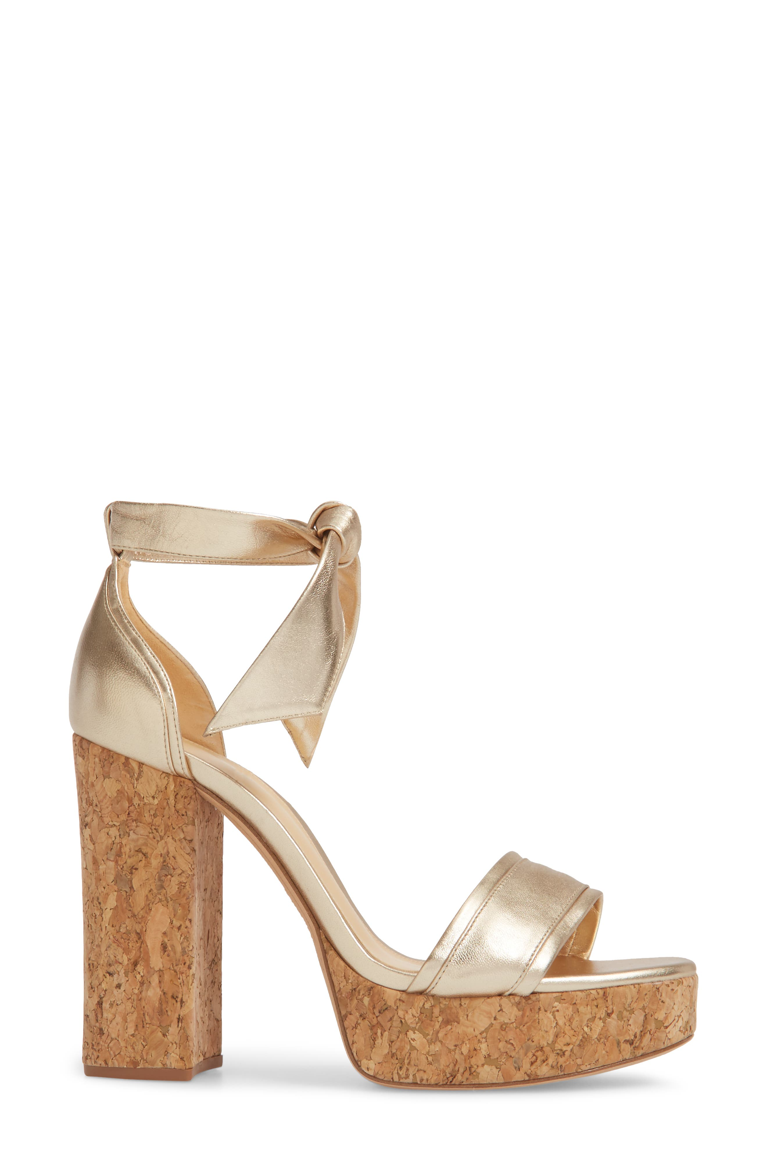 Celine Ankle Tie Platform Sandal,                             Alternate thumbnail 3, color,                             Gold
