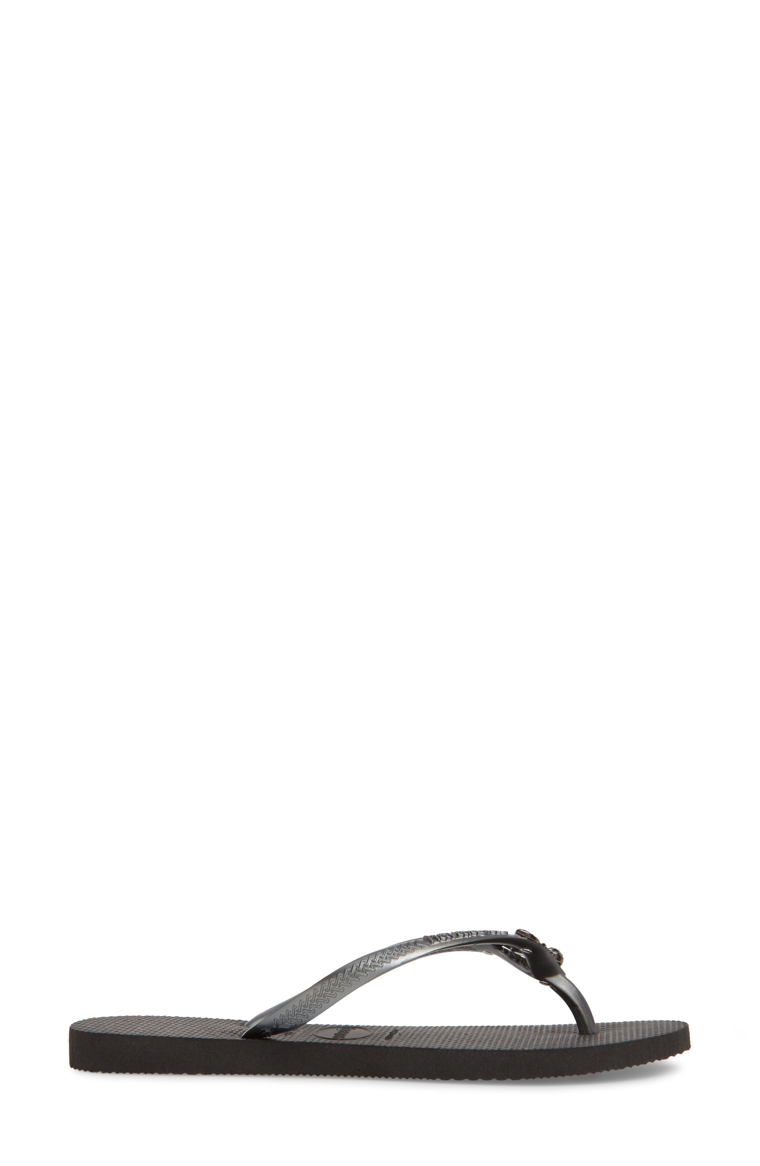 Slim Lux Flip Flop,                             Alternate thumbnail 3, color,                             Black/ Black