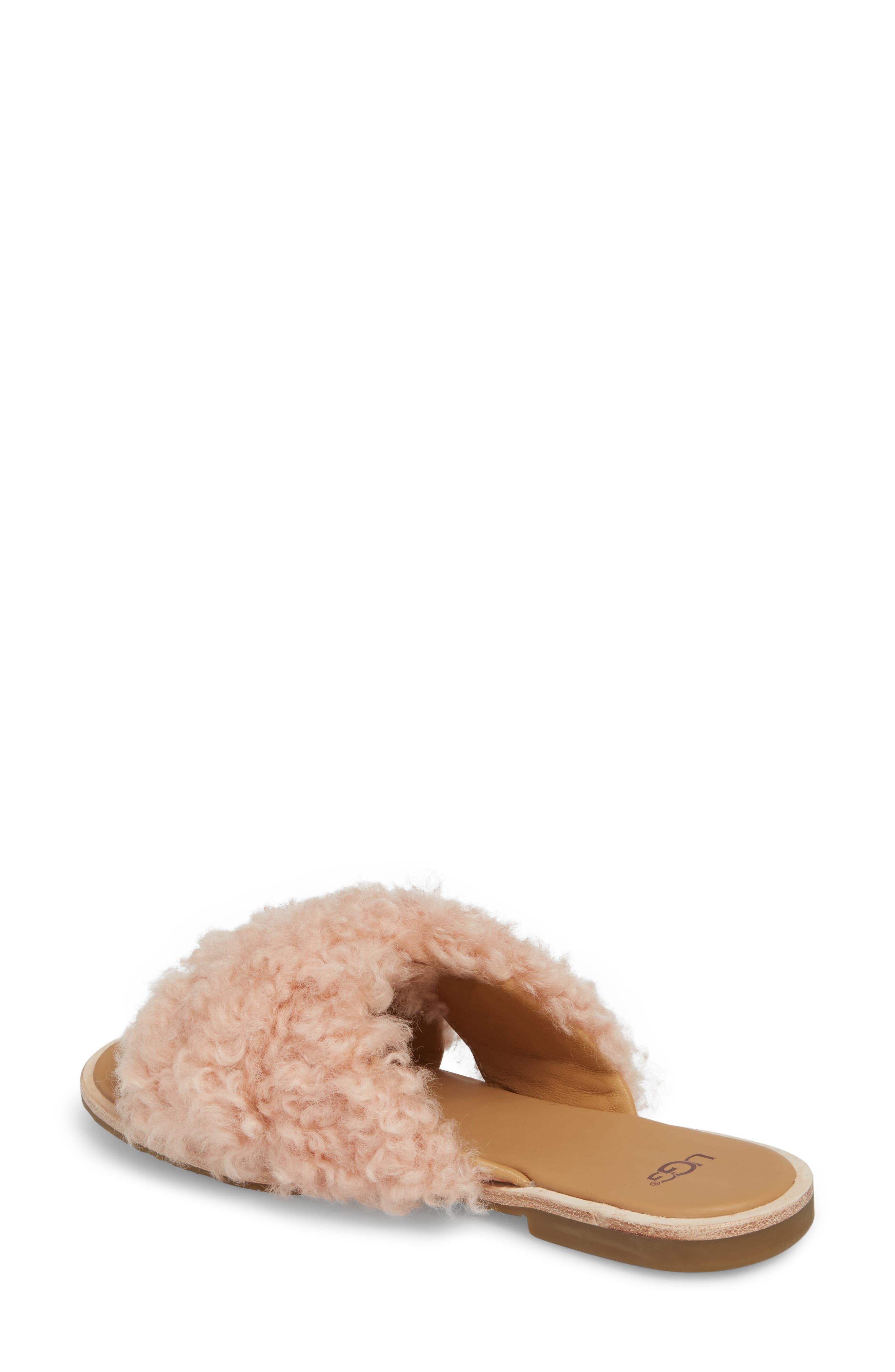 Joni Genuine Shearling Slide Sandal,                             Alternate thumbnail 2, color,                             Suntan
