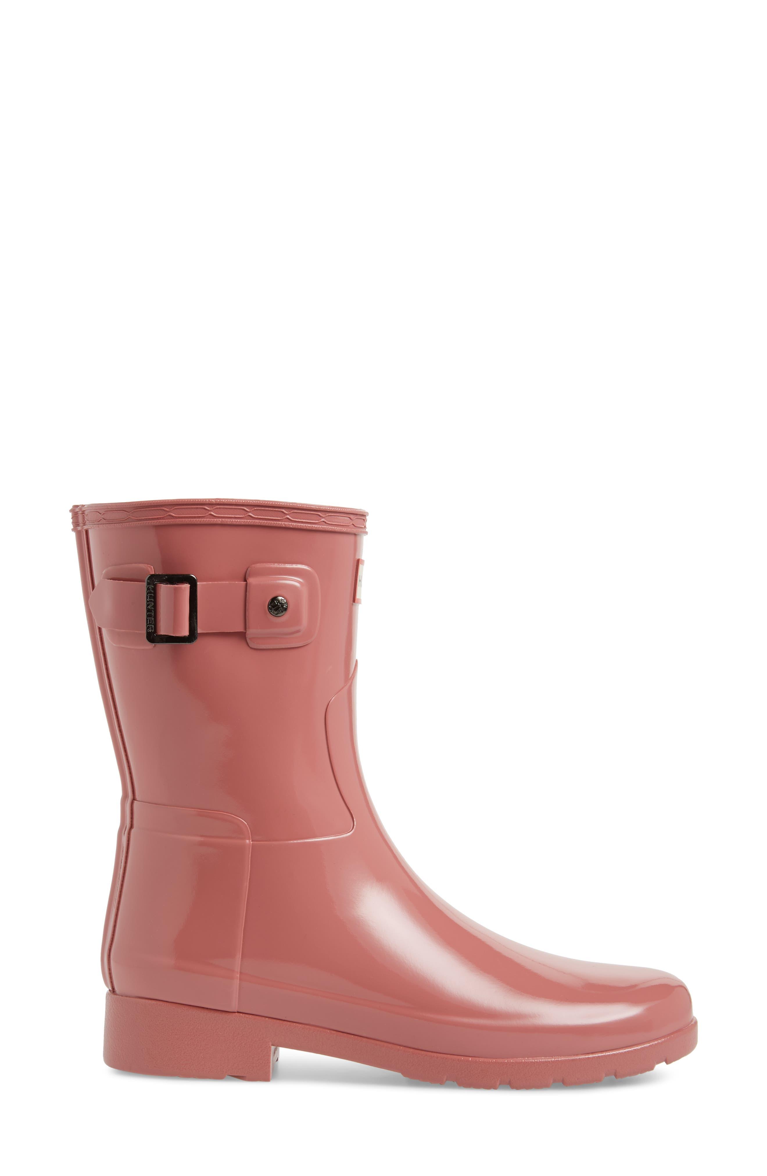 'Refined Short' Gloss Rain Boot,                             Alternate thumbnail 3, color,                             Pale Rose
