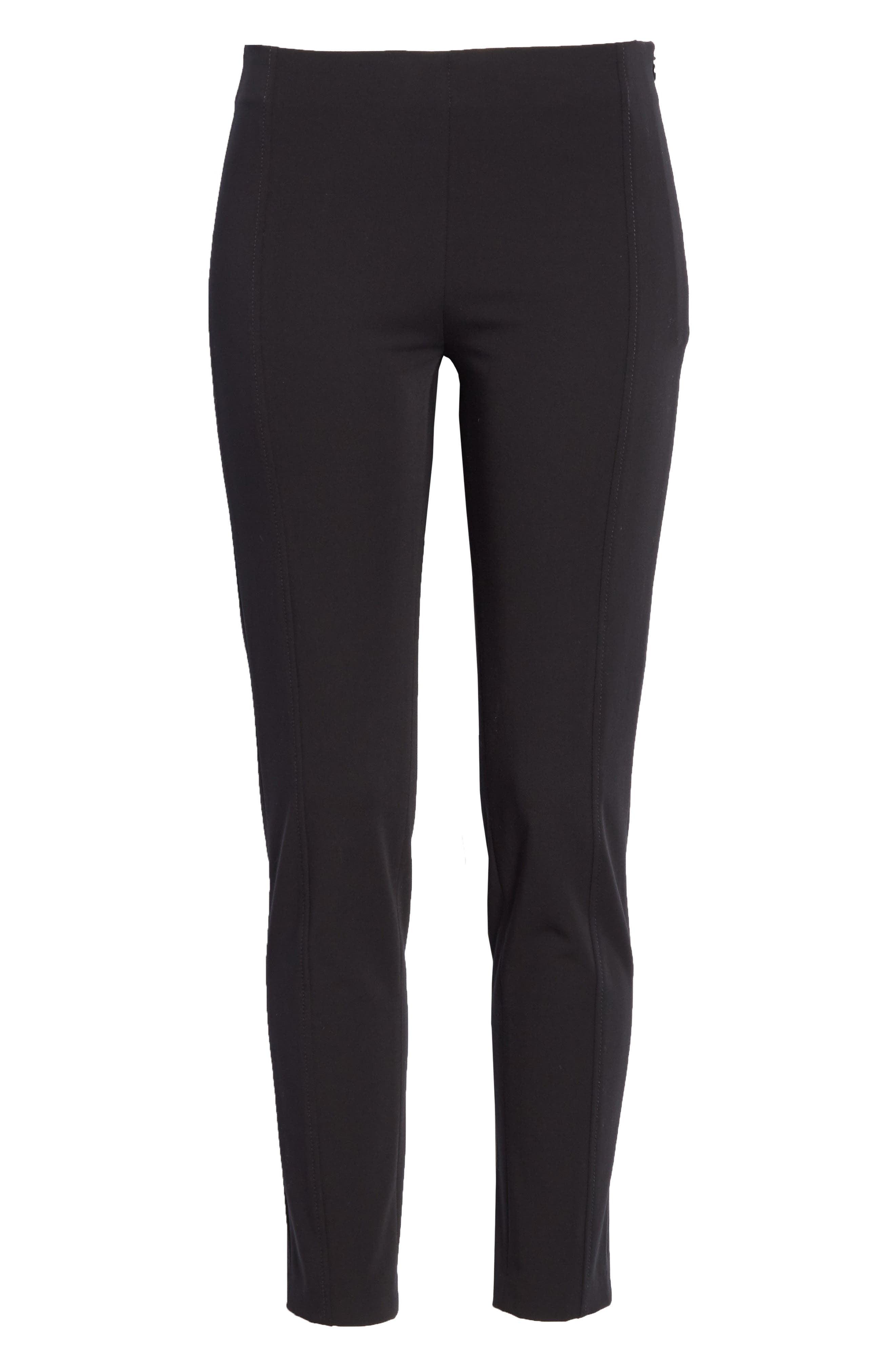 Lenny Slim Stretch Cotton Pants,                             Alternate thumbnail 6, color,                             Black