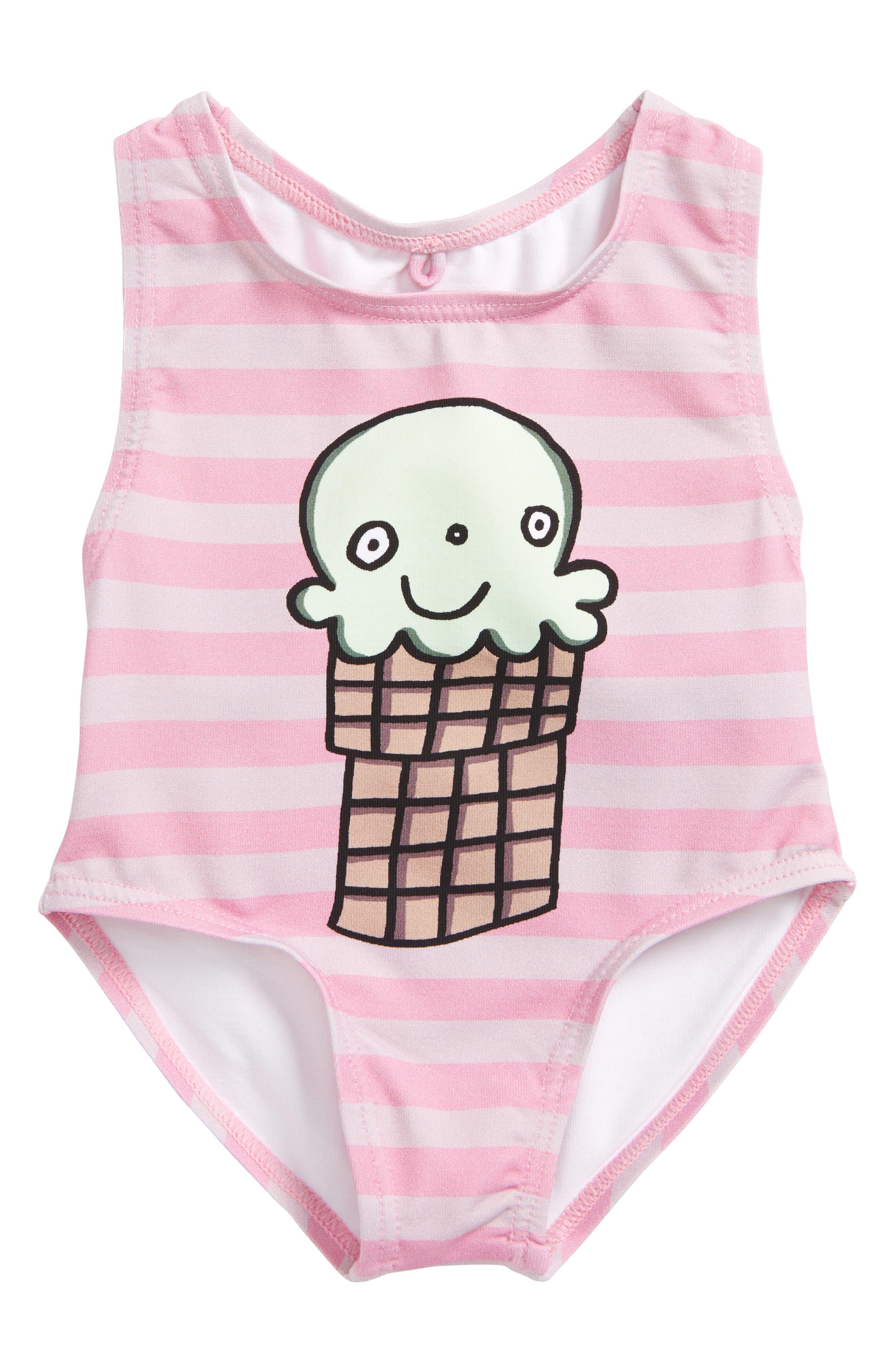 Main Image - Stella McCartney Molly Ice Cream One-Piece Swimsuit (Baby Girls)