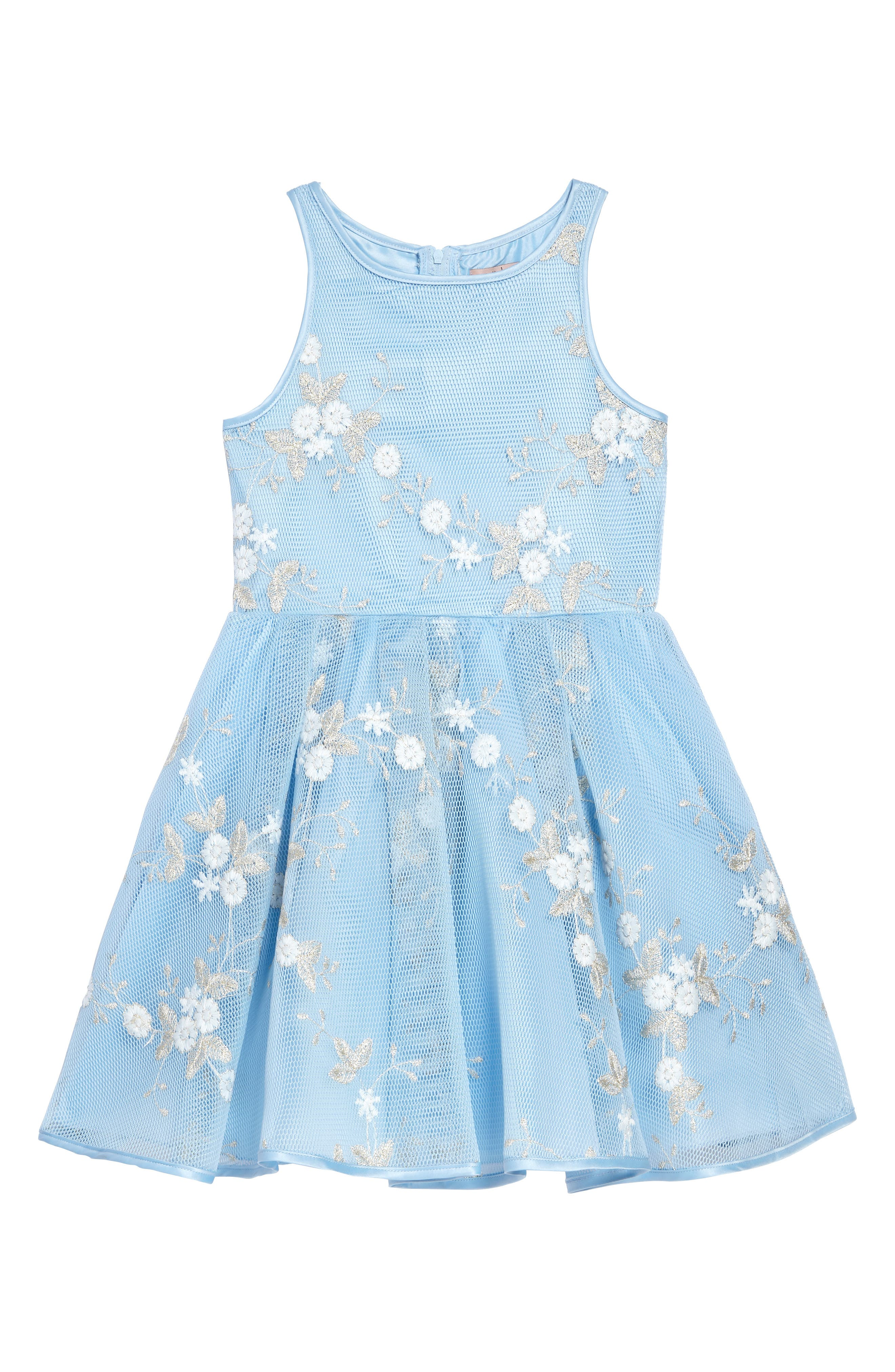 Embroidered Mesh Dress,                             Main thumbnail 1, color,                             Light Blue