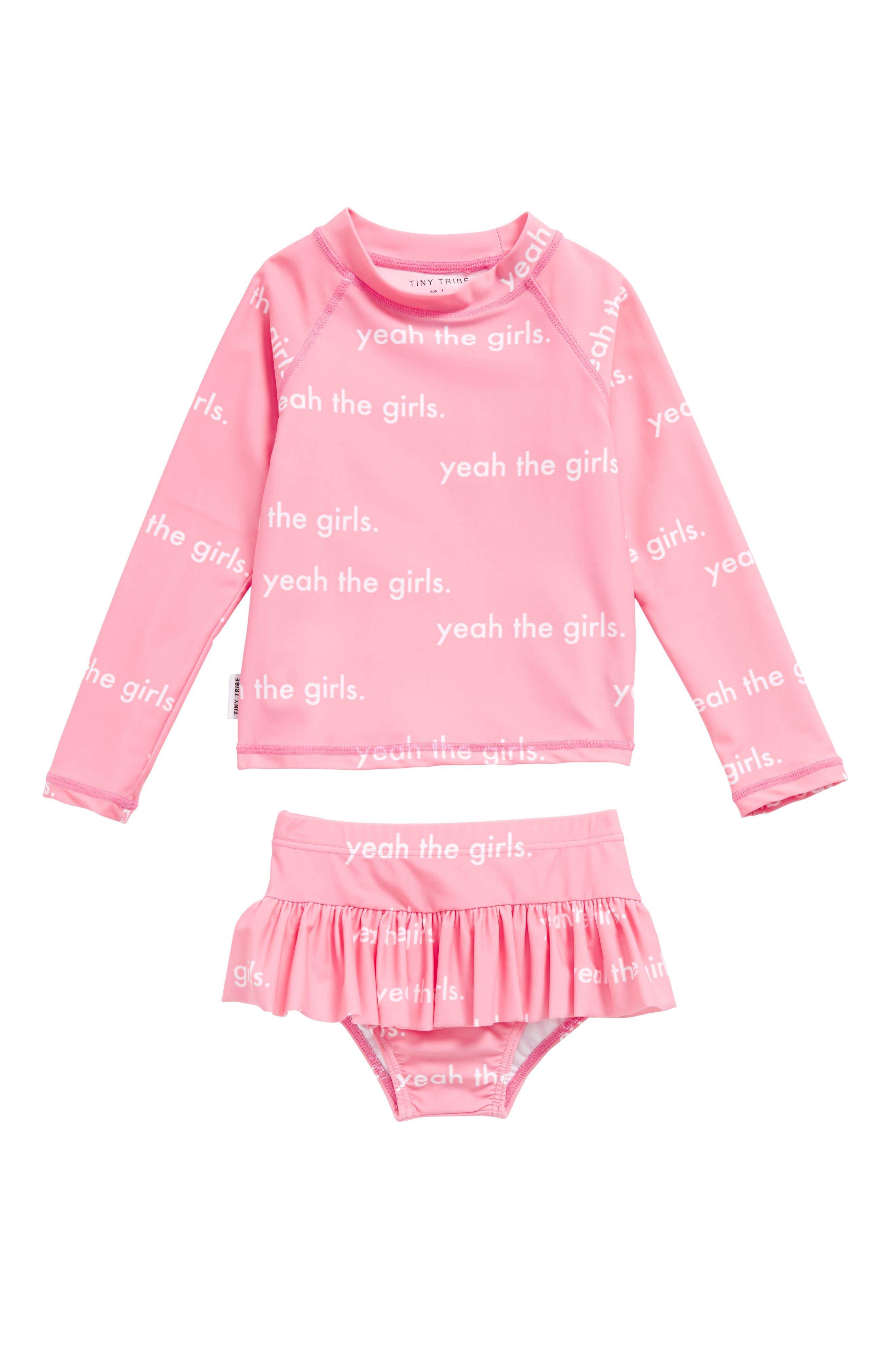 Yeah the Girls Two-Piece Rashguard Swim Suit,                         Main,                         color, Pink