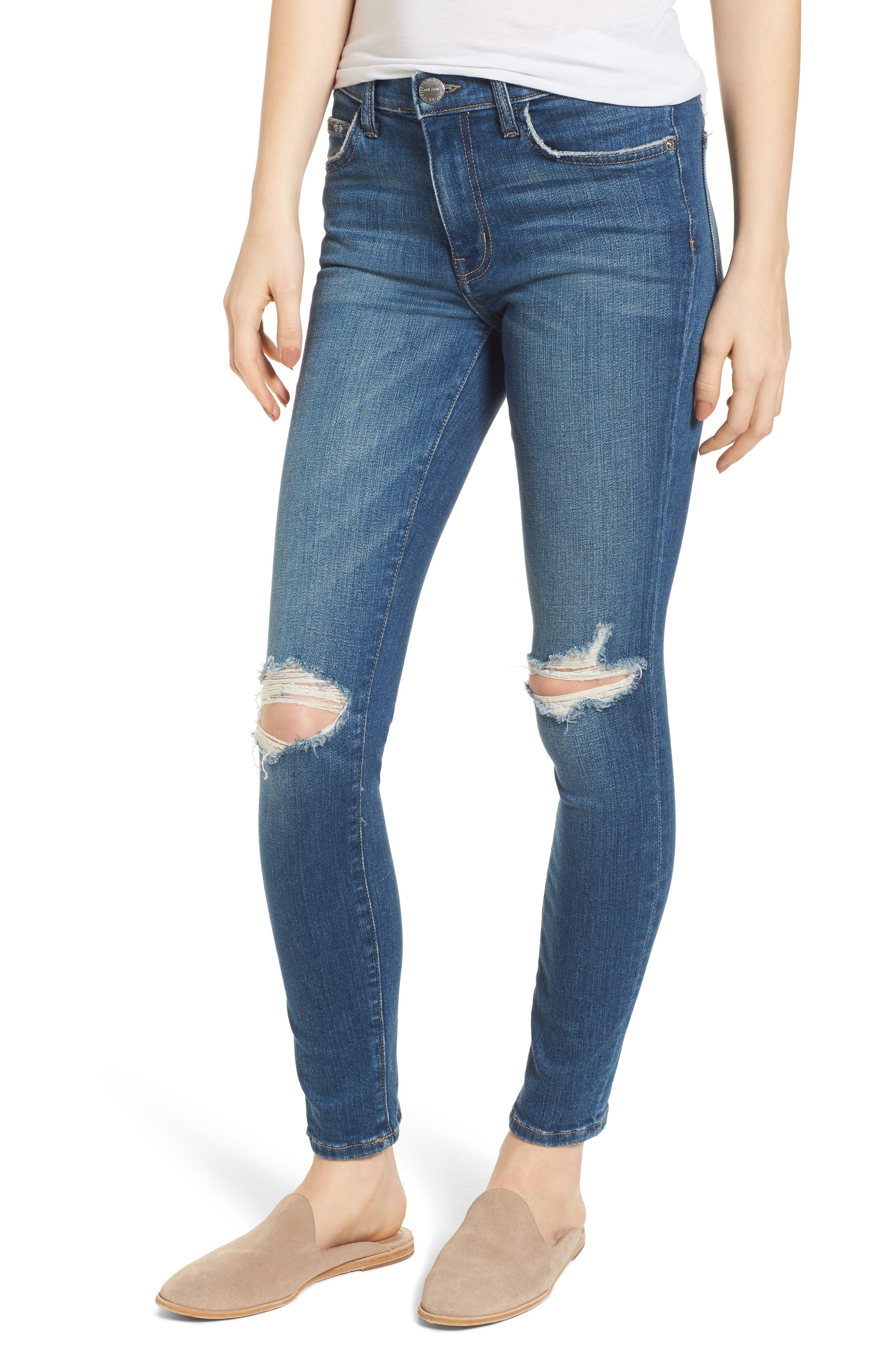 The High Waist Ankle Skinny Jeans,                             Main thumbnail 1, color,                             Joey Dark Destroy