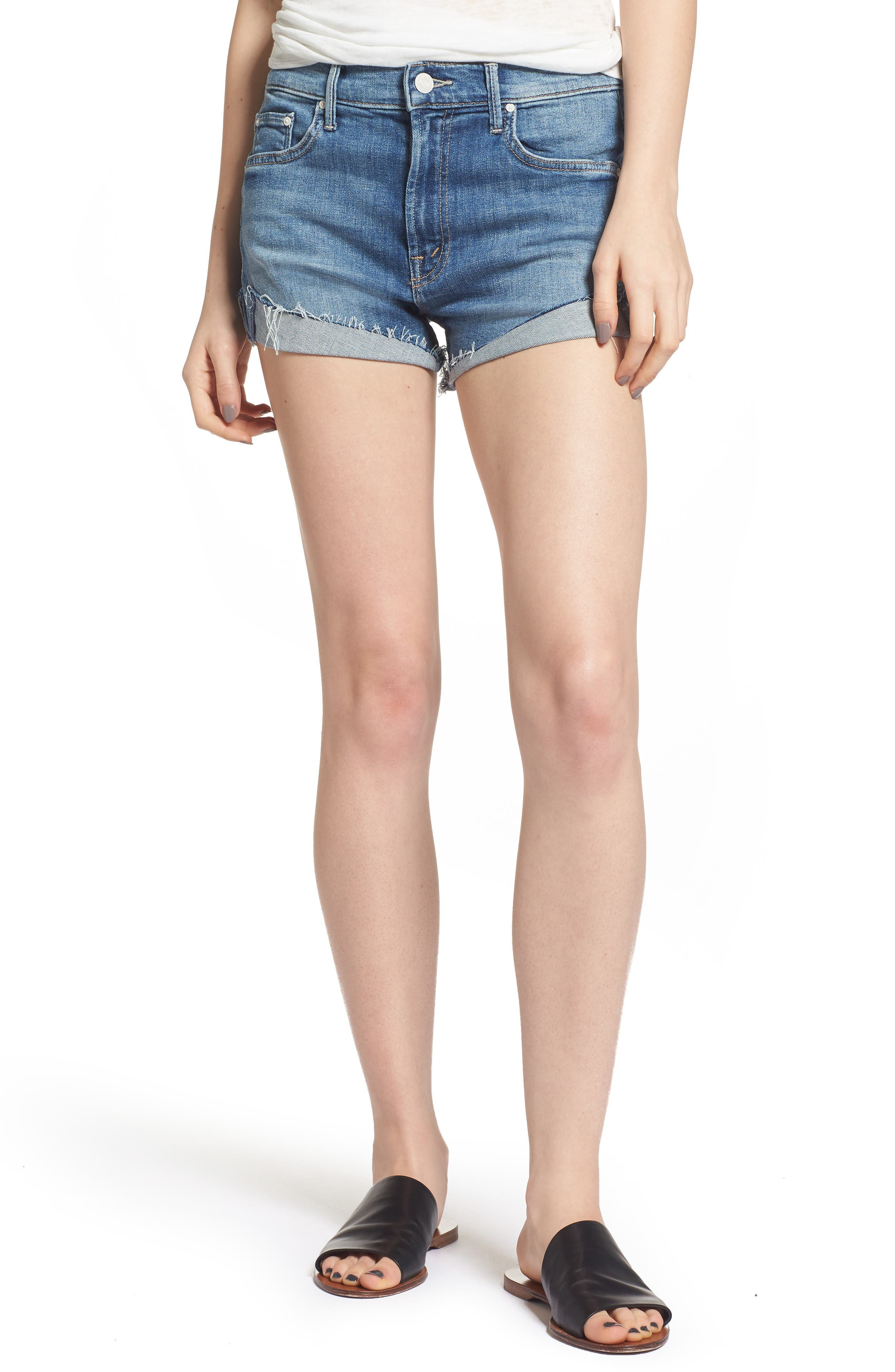 Alternate Image 1 Selected - MOTHER The Rascal Slit Flip Denim Shorts (One Smart Cookie)