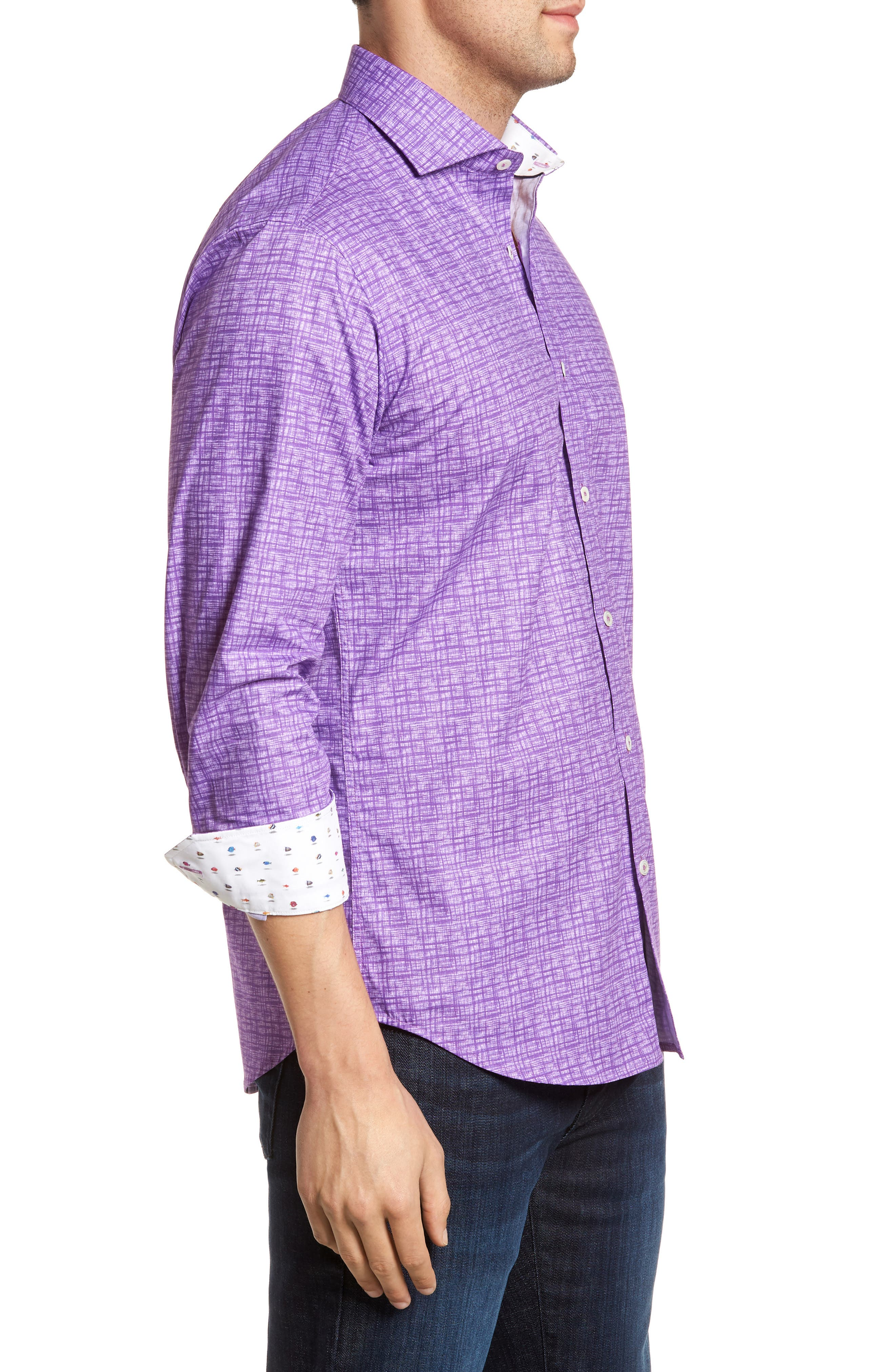 Freehand Shaped Fit Sport Shirt,                             Alternate thumbnail 4, color,                             Orchid