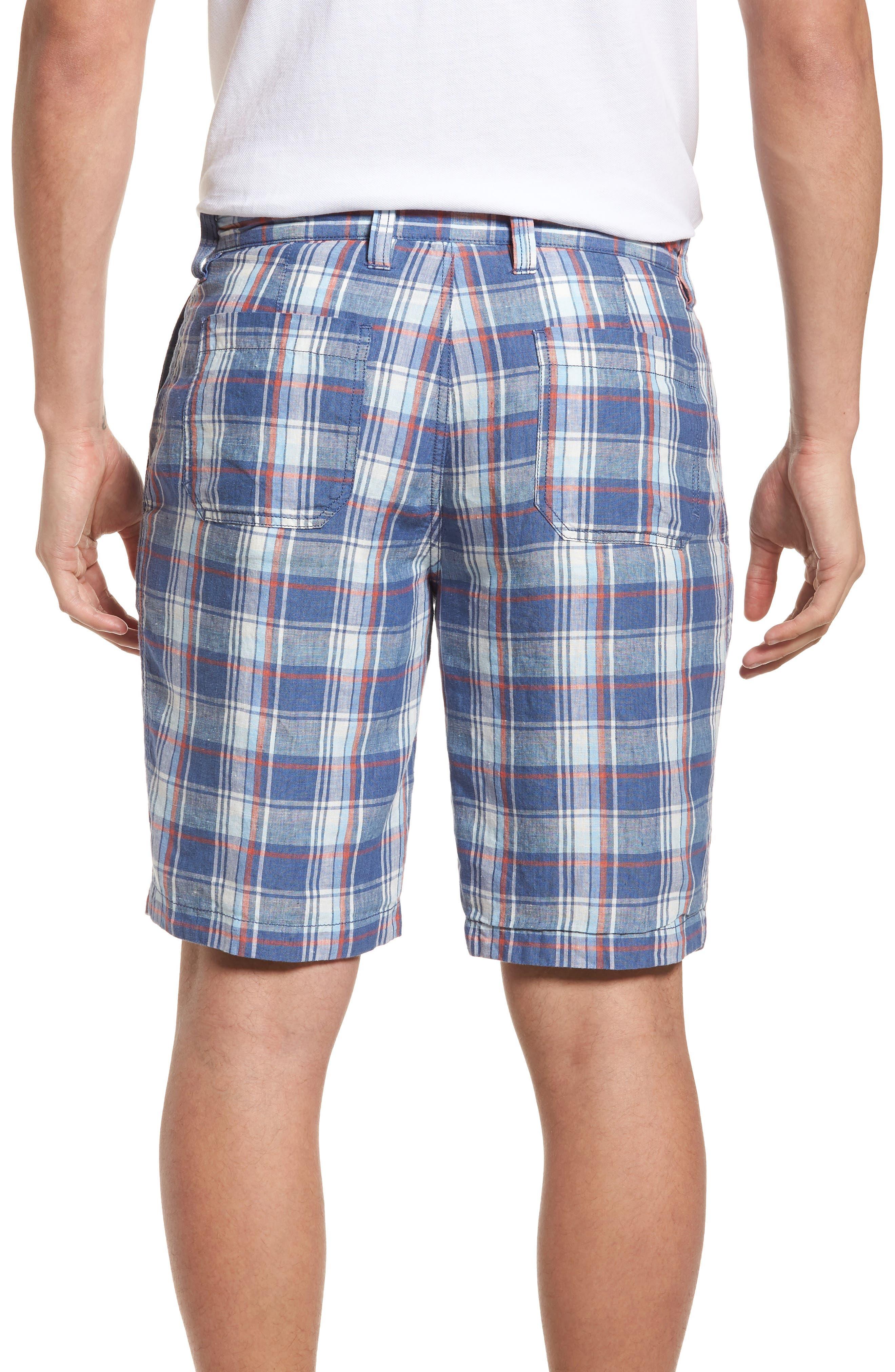Plaid de Leon Reversible Linen Shorts,                             Alternate thumbnail 3, color,                             Dockside Blue