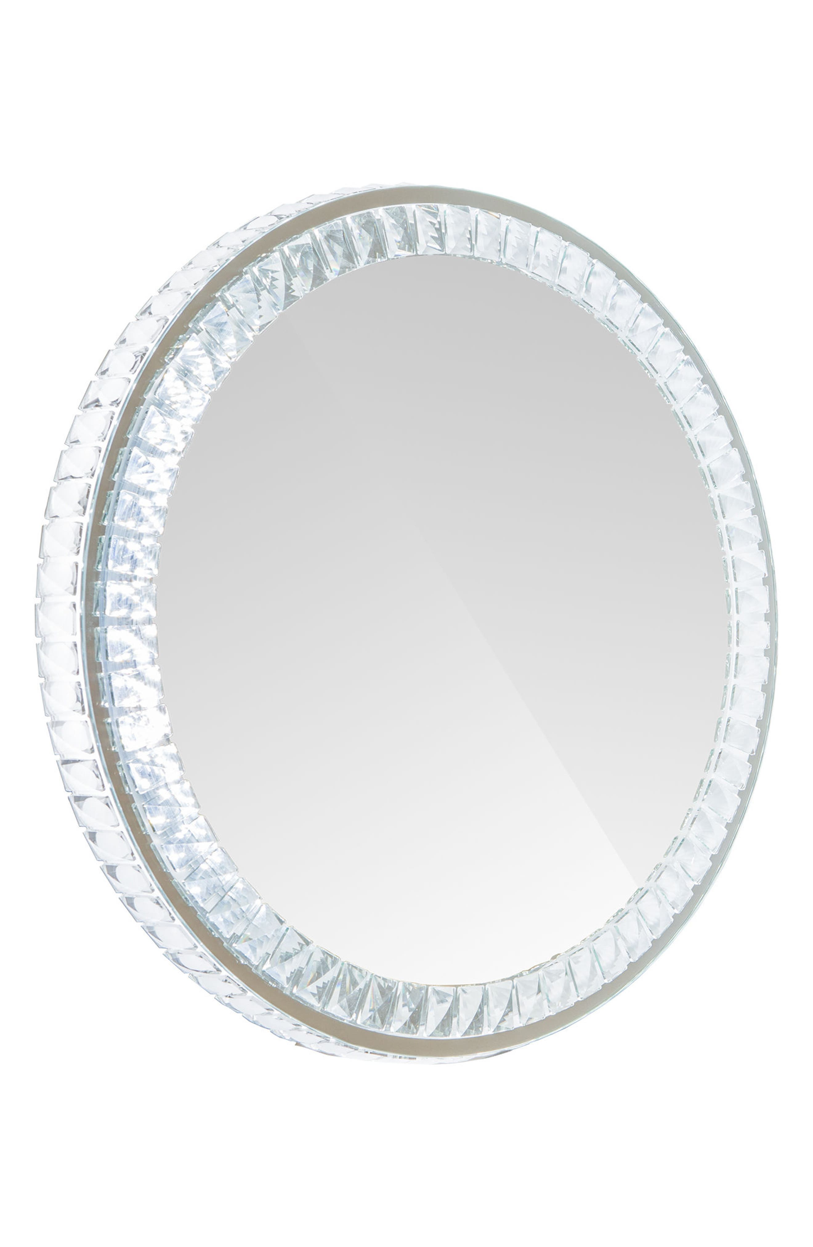Diamond Collection Round LED Wall Mirror,                         Main,                         color, Clear