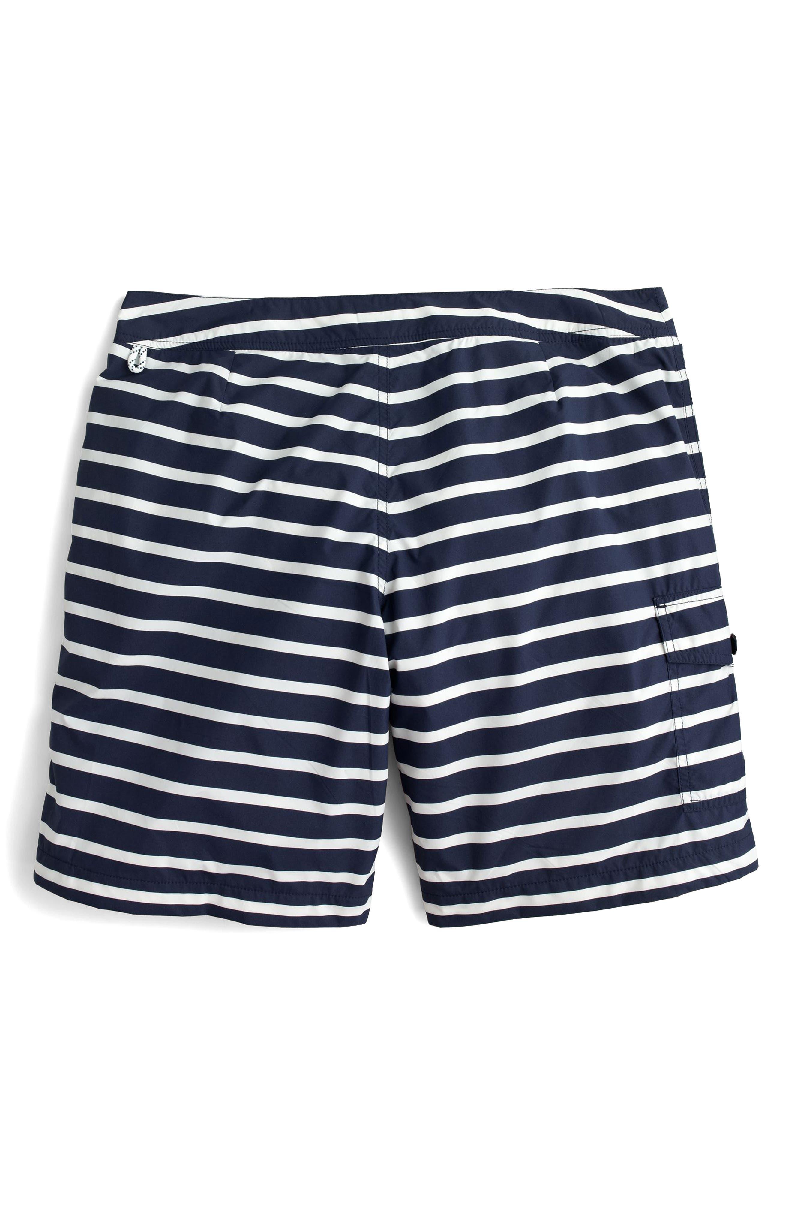 J.Crew Stripe Swim Trunks,                             Alternate thumbnail 5, color,                             Navy White