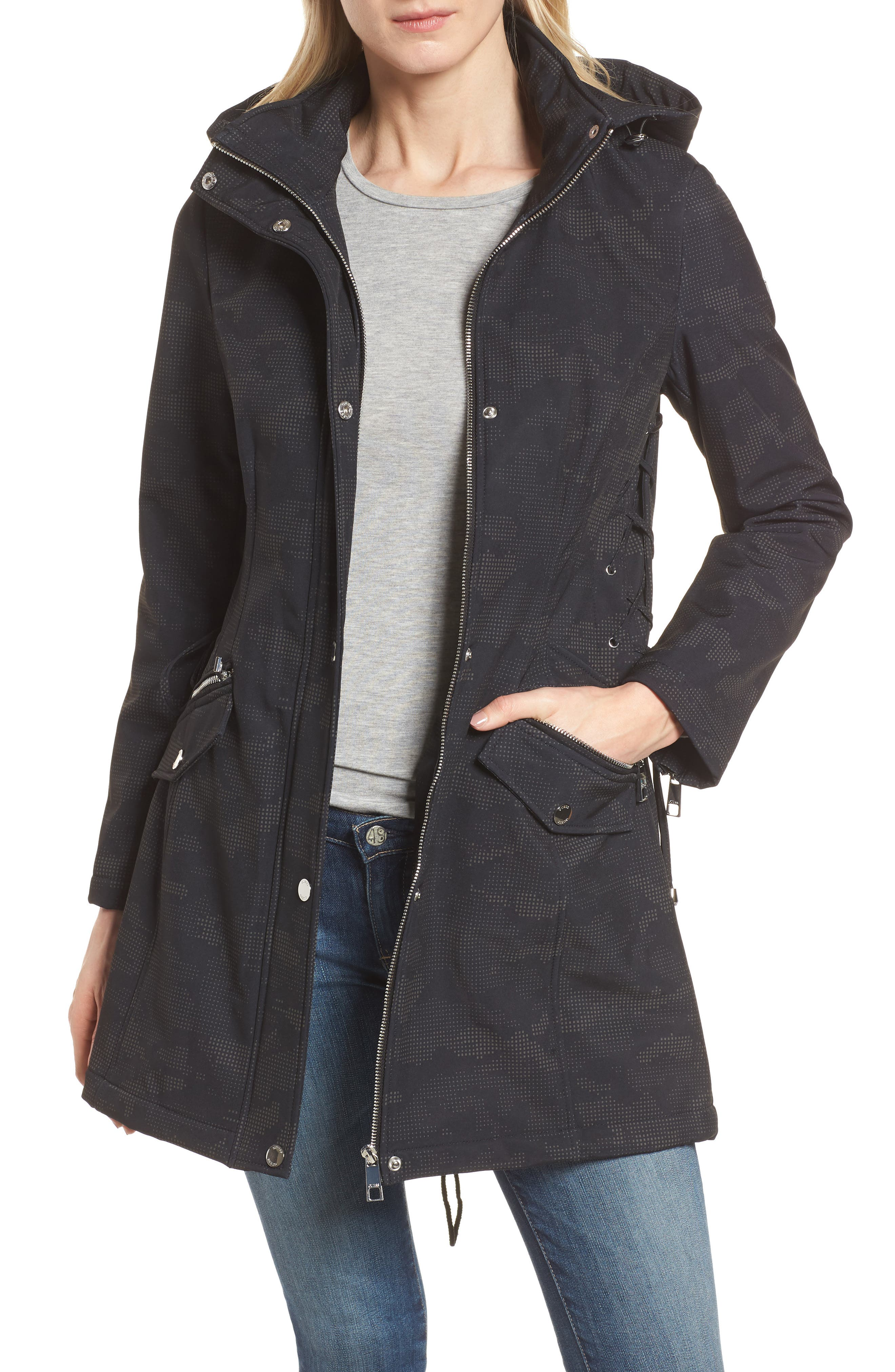 Lace-Up Hooded Jacket,                         Main,                         color, Black Print