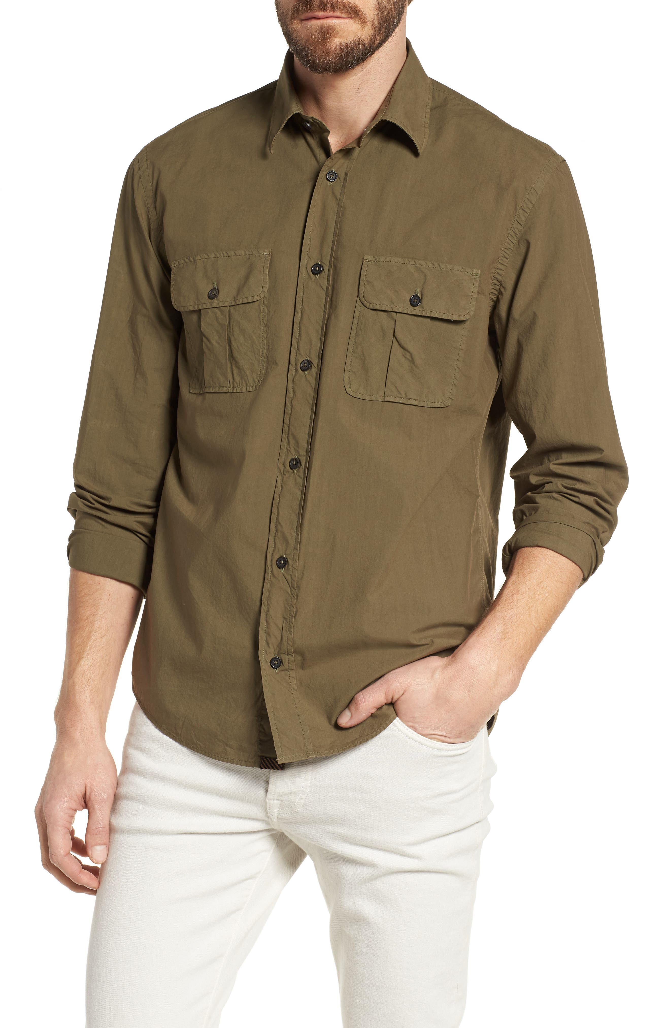 Brantley Slim Fit Sport Shirt,                         Main,                         color, Olive