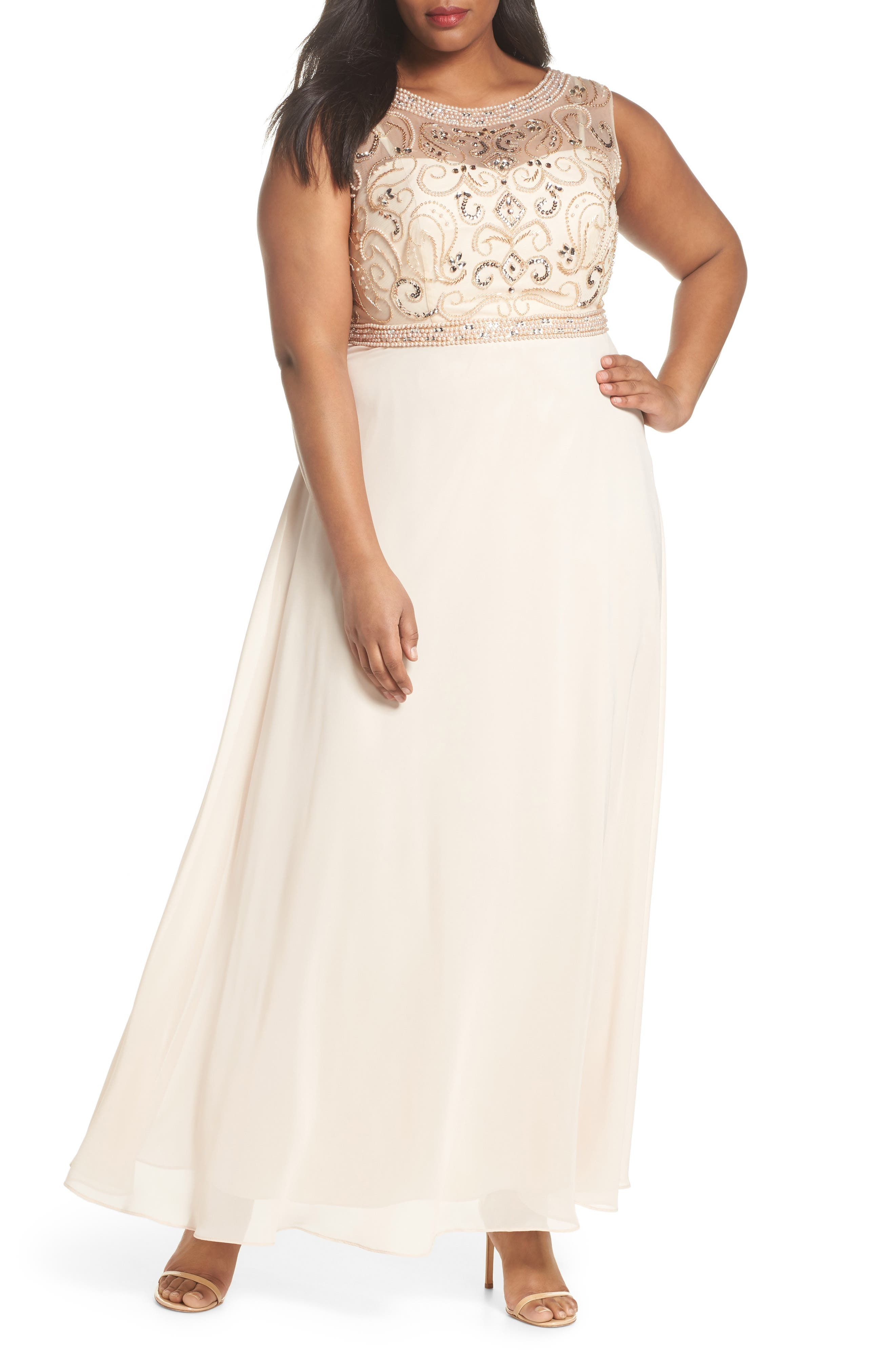 Sleeveless Beaded Gown,                         Main,                         color, Champagne