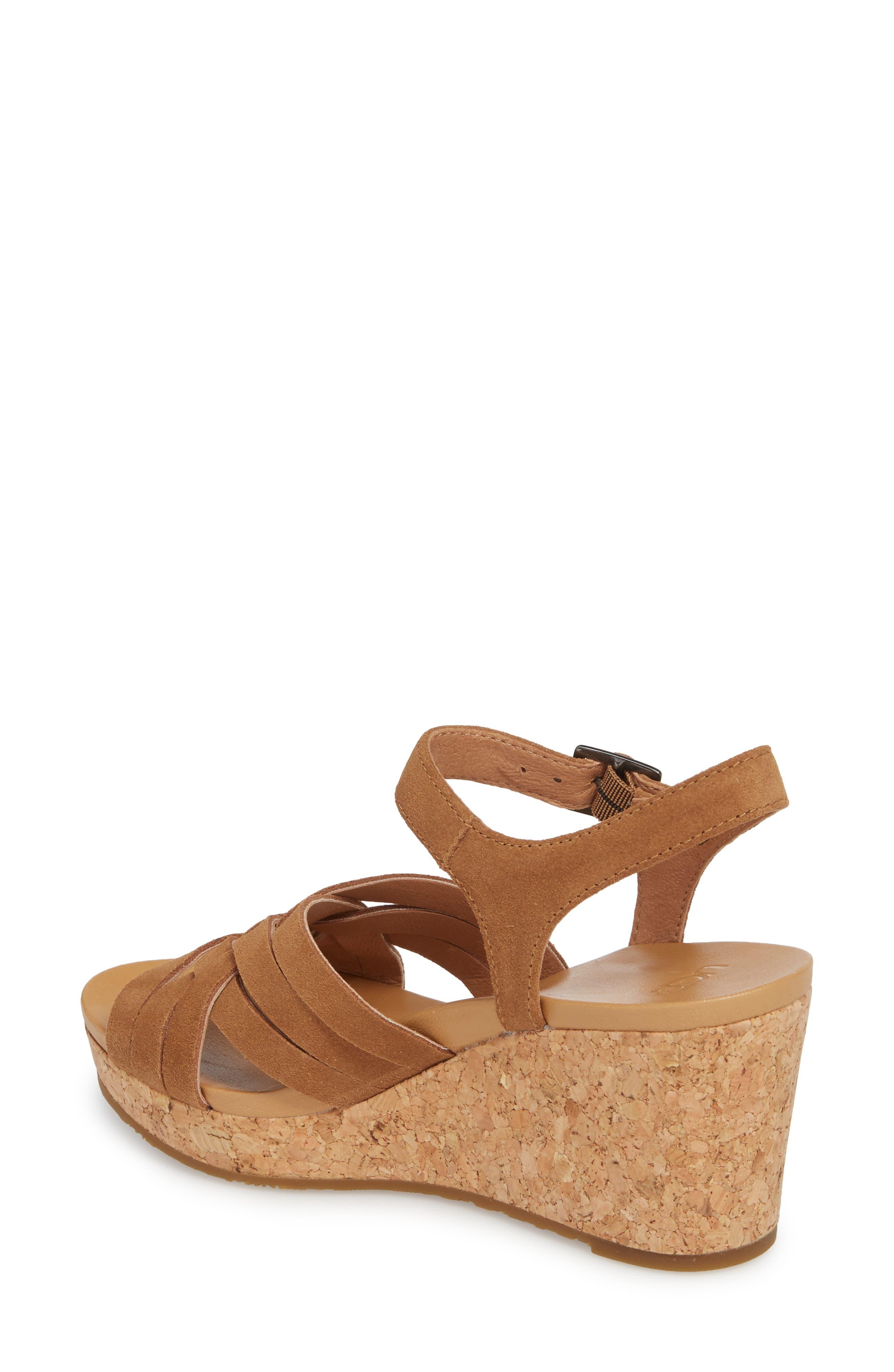 Uma Wedge Sandal,                             Alternate thumbnail 2, color,                             Chestnut Suede