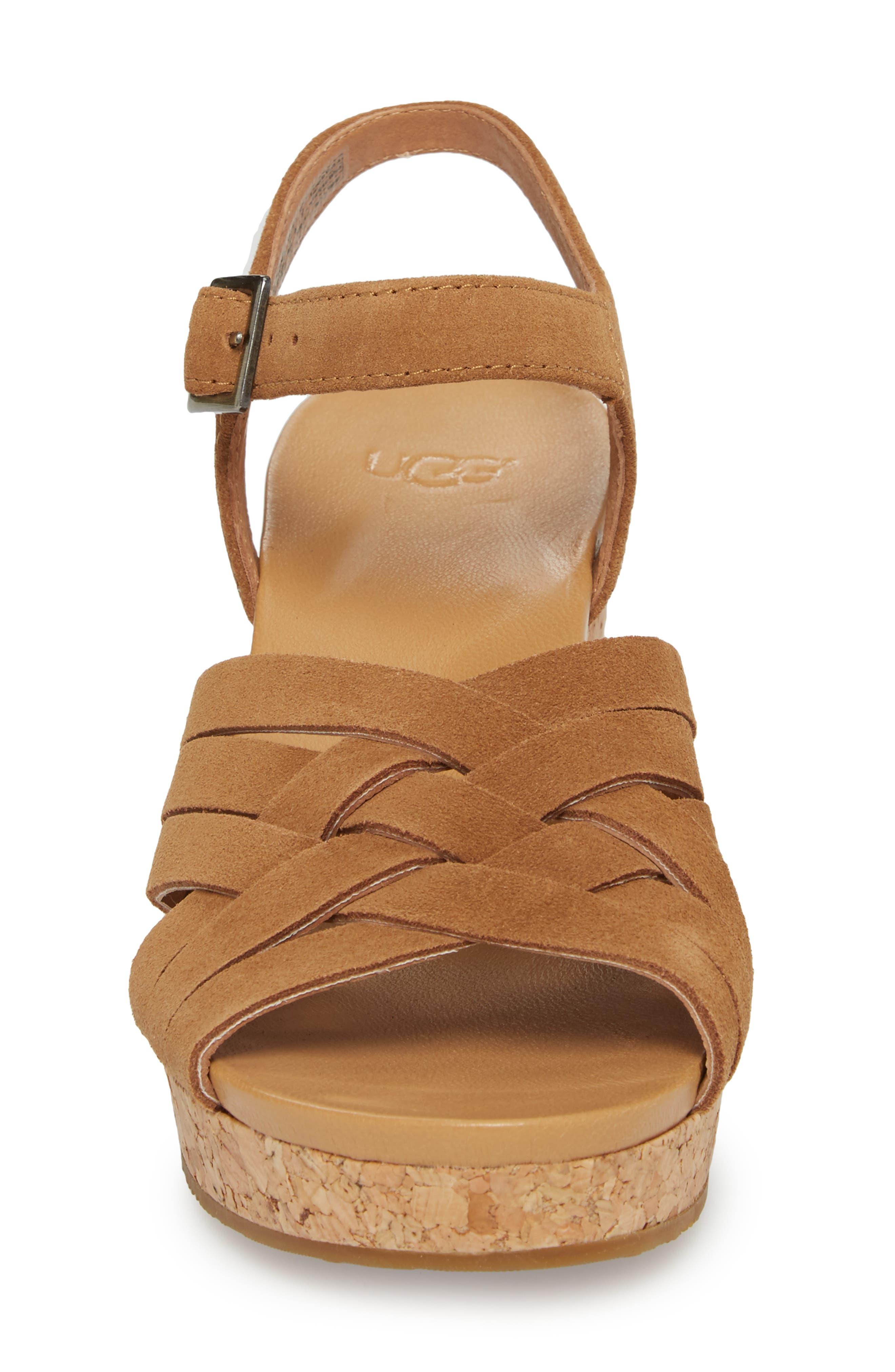 Uma Wedge Sandal,                             Alternate thumbnail 4, color,                             Chestnut Suede