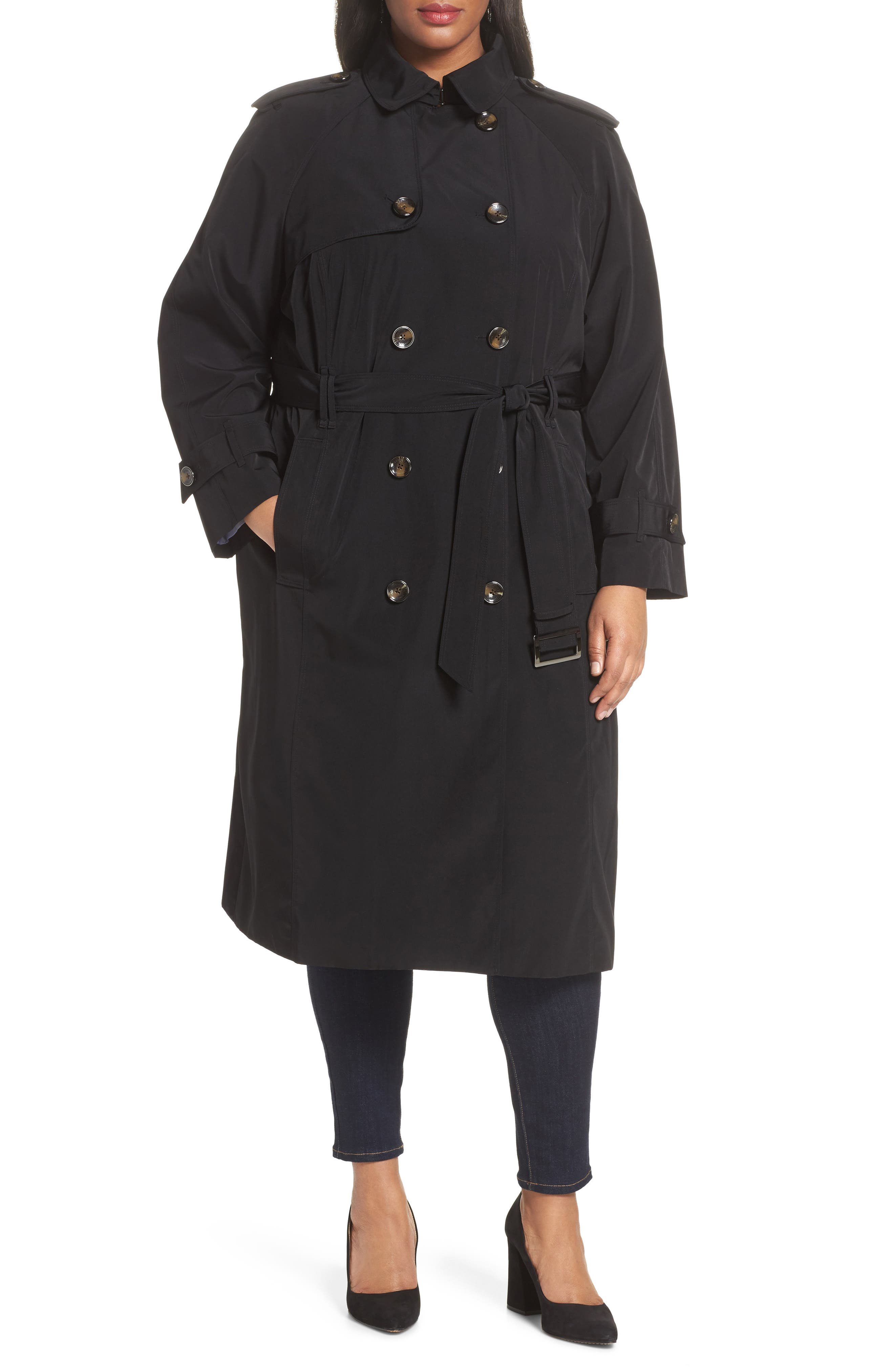 Water Resistant Hooded Trench Coat,                             Alternate thumbnail 4, color,                             Black