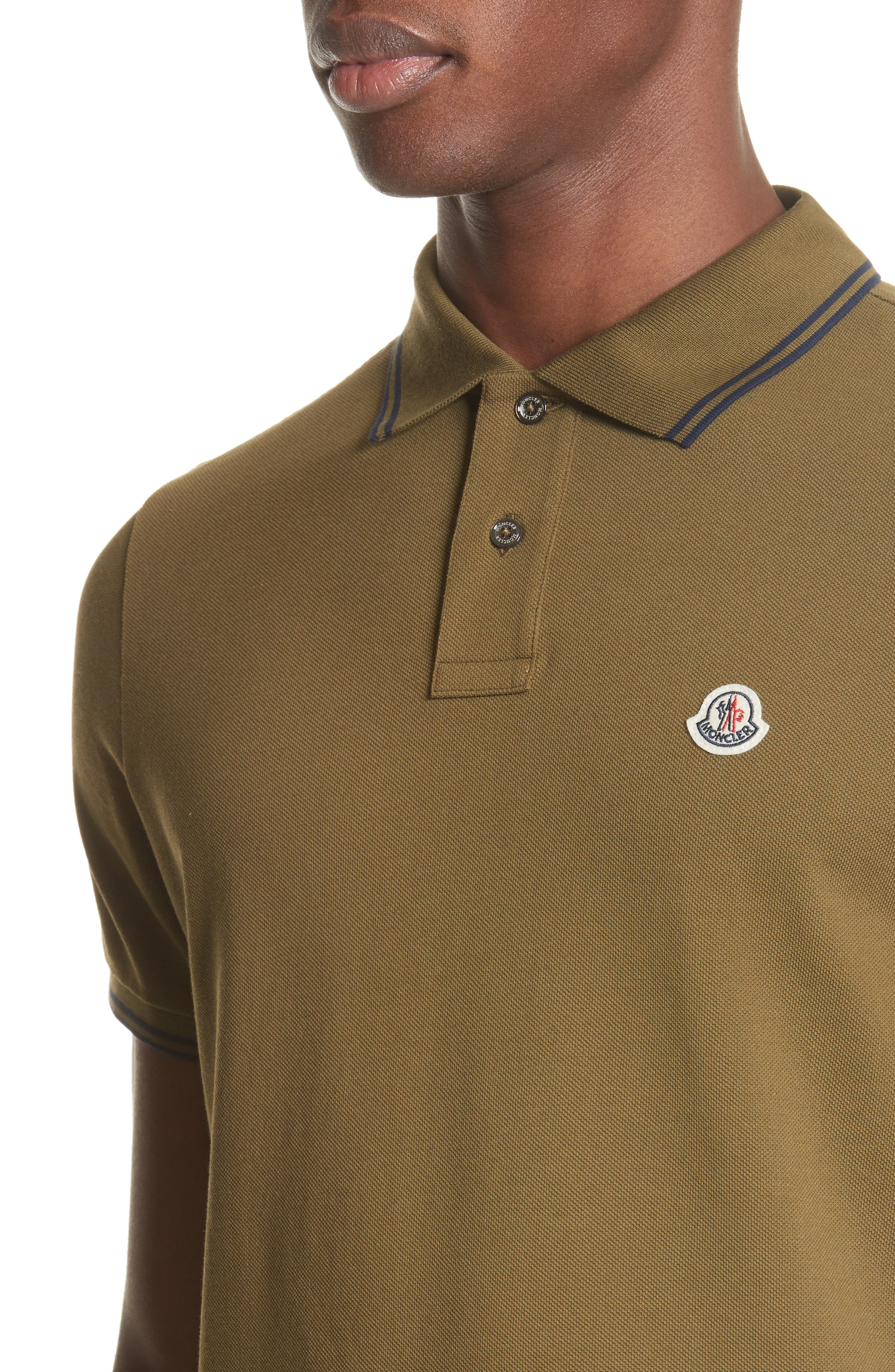 Striped Collar Polo Shirt,                             Alternate thumbnail 4, color,                             Olive
