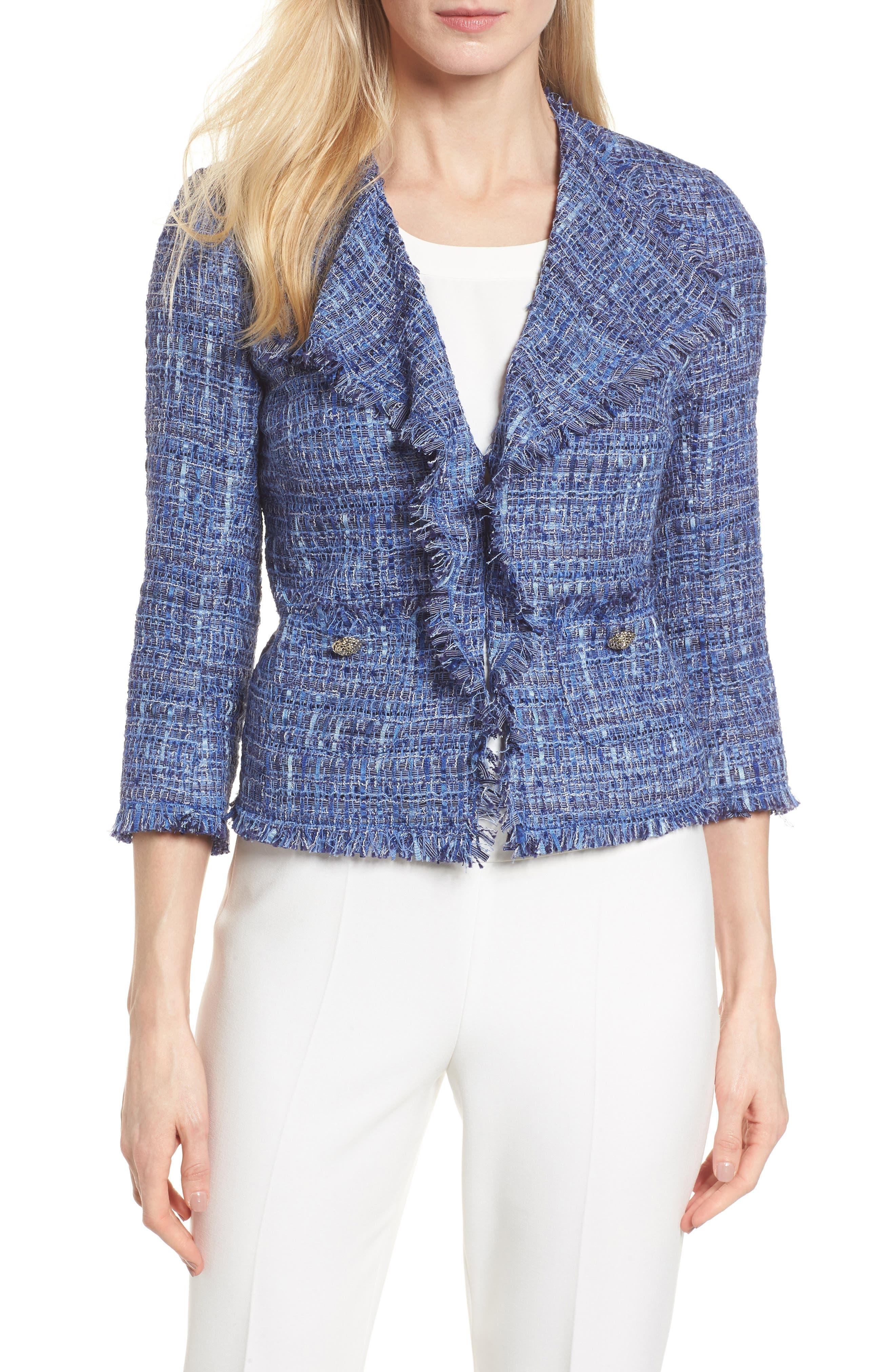 Anne Klein Fringe Tweed Jacket