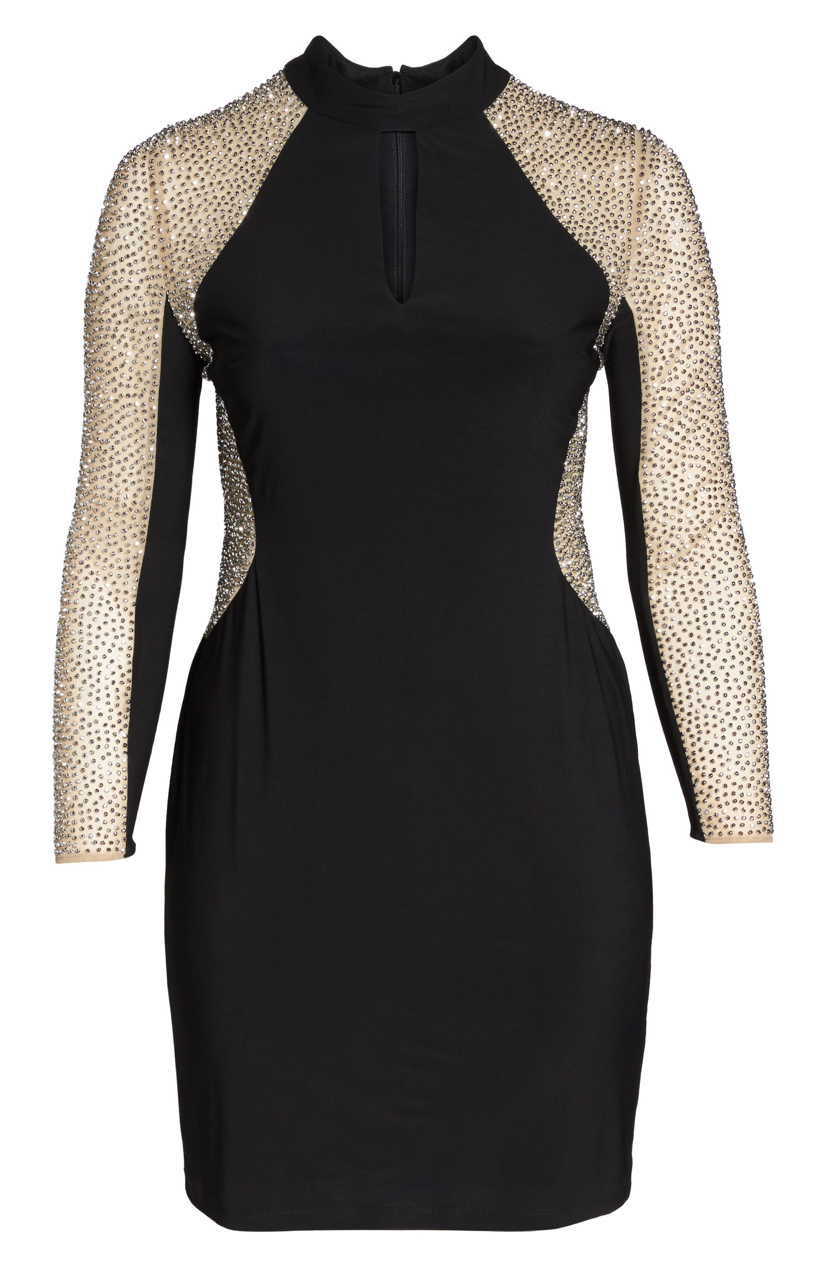 Caviar Beading Keyhole Dress,                             Alternate thumbnail 6, color,                             Black/ Nude/ Silver