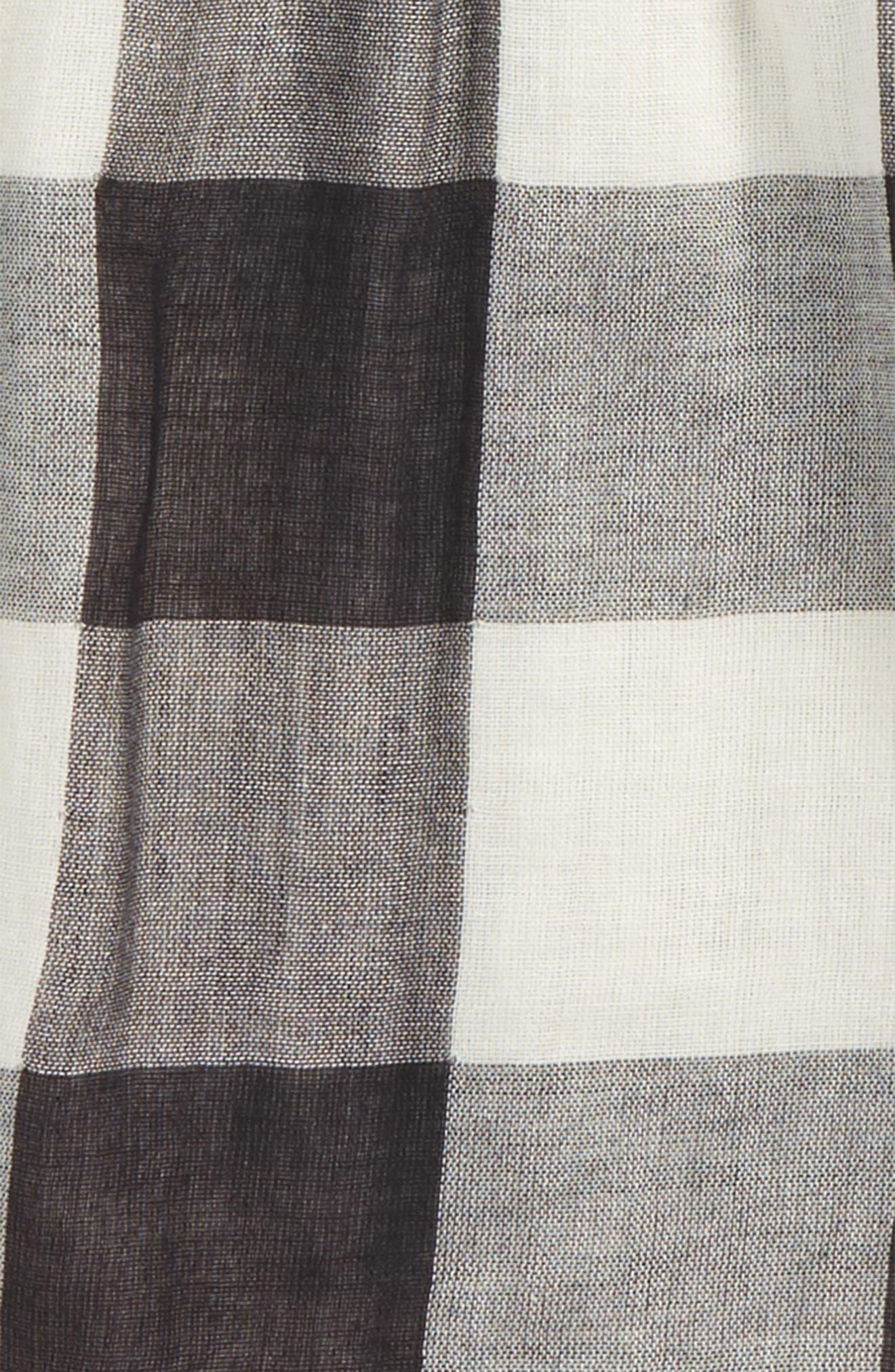 Woven Check Top,                             Alternate thumbnail 2, color,                             Black- Ivory Check