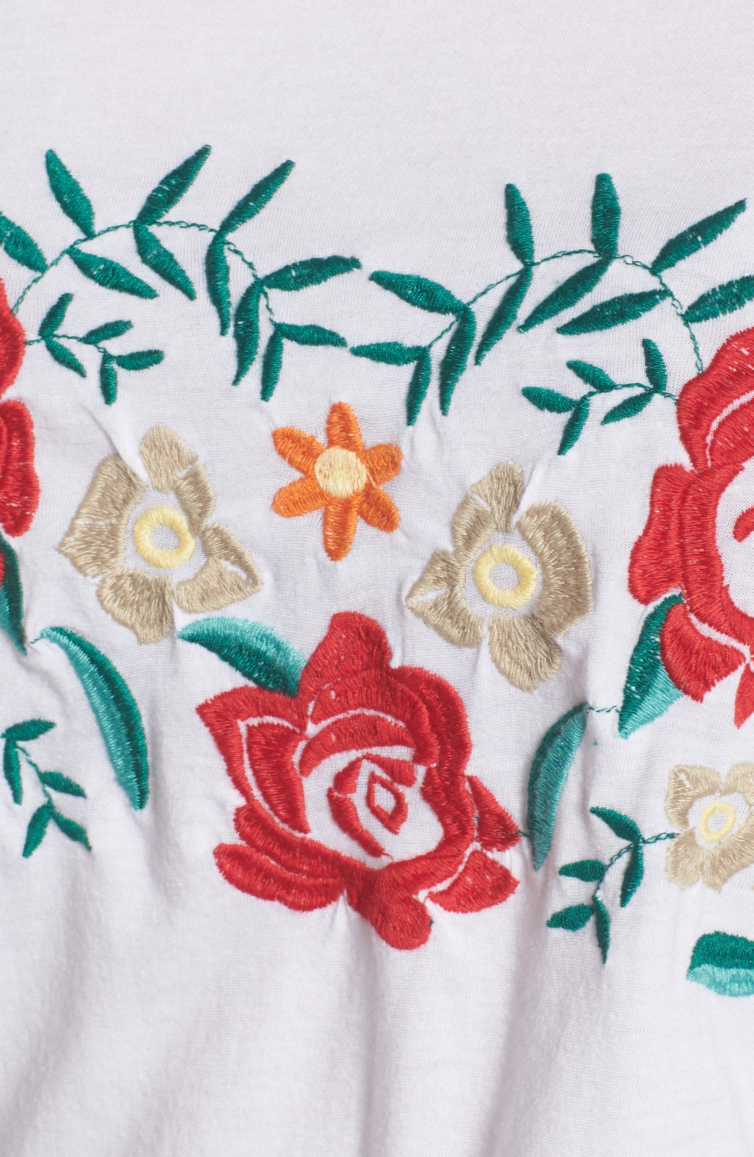 Floral Embroidered Tee,                             Alternate thumbnail 6, color,                             White