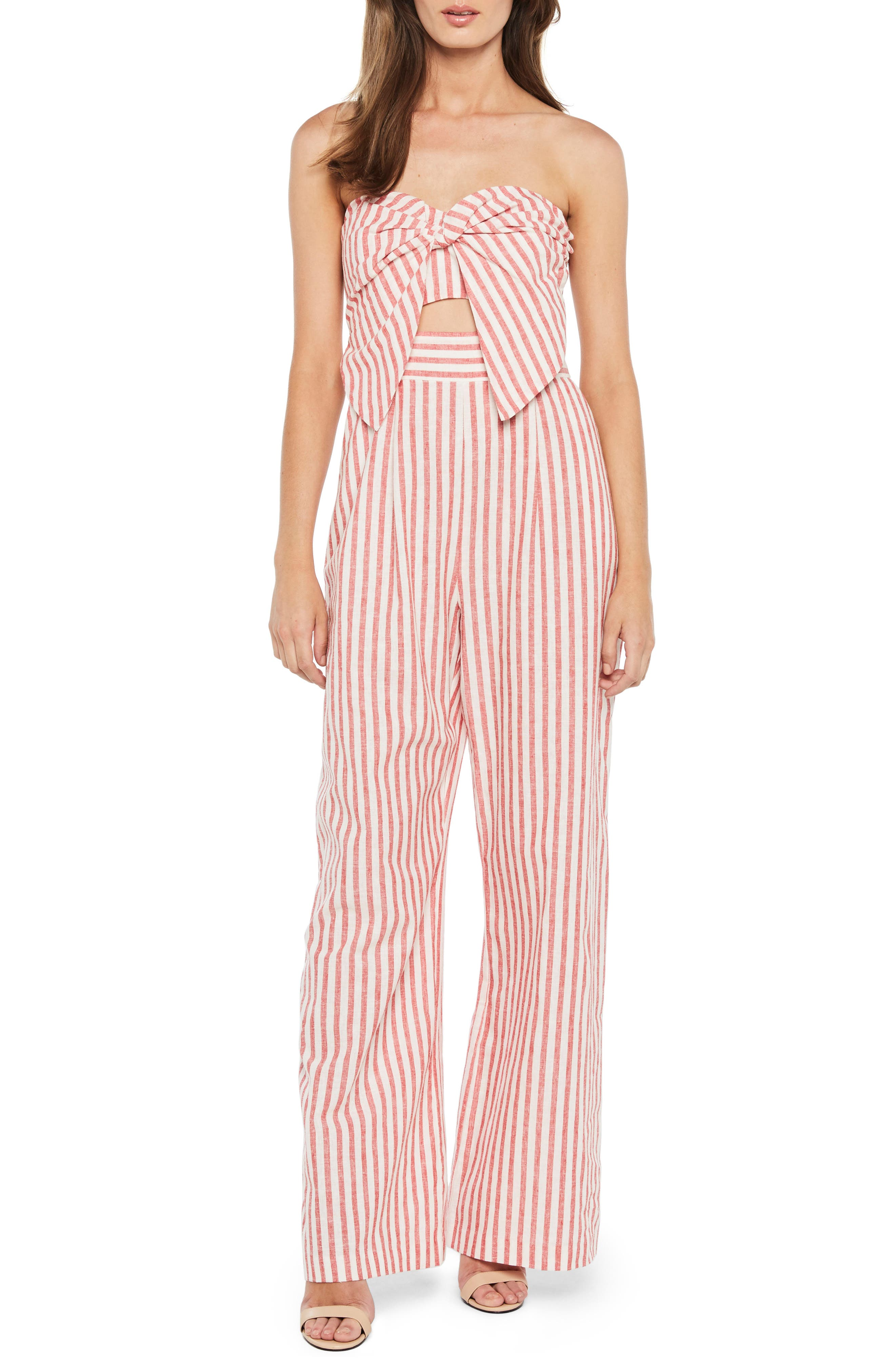 Stripe Strapless Jumpsuit,                             Main thumbnail 1, color,                             Red Stripe