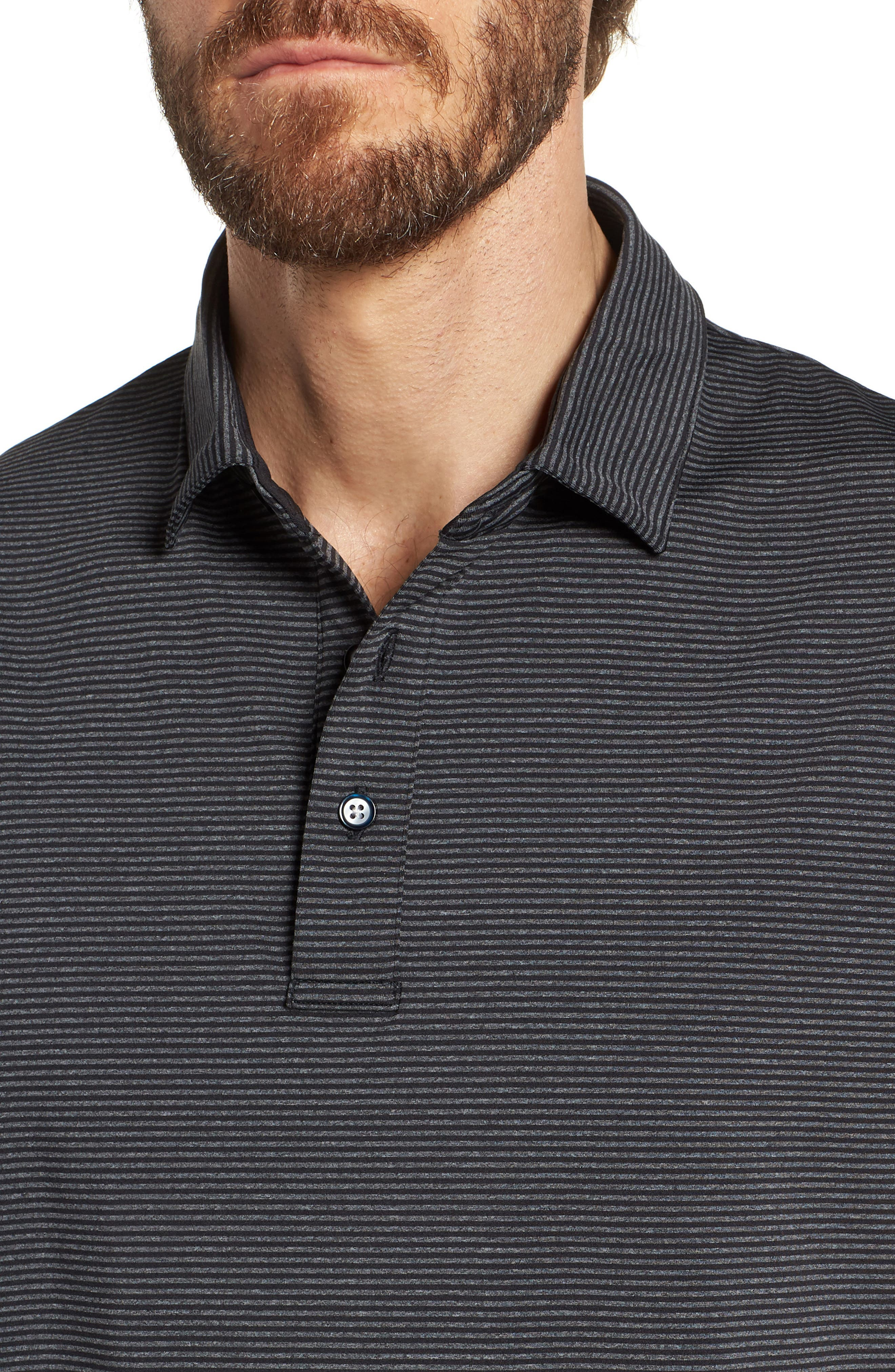 Oracle Stripe Jersey Polo,                             Alternate thumbnail 4, color,                             Caviar/ Charcoal