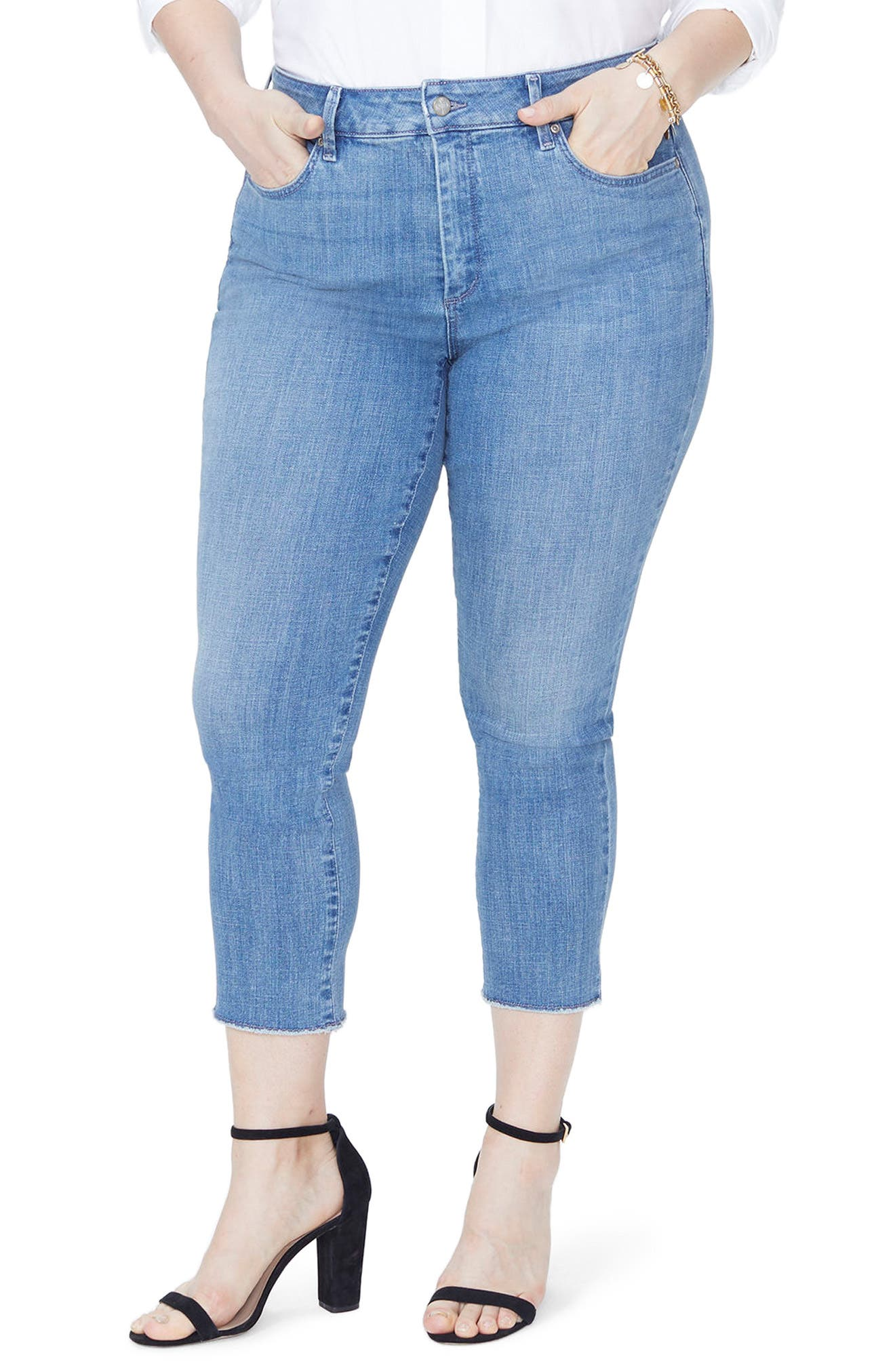 Sheri Slim Fray Hem Ankle Jeans,                             Main thumbnail 1, color,                             Maxwell