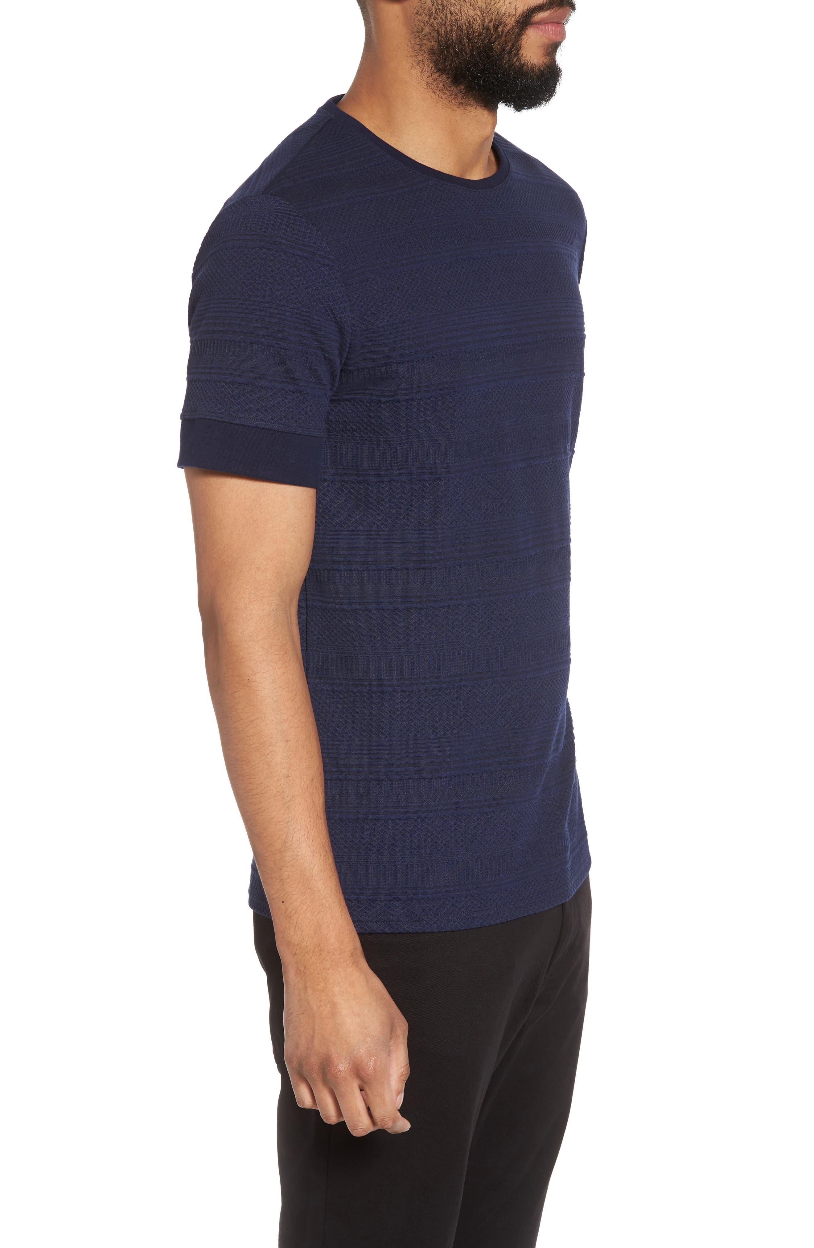 Banded Cuff Crewneck T-Shirt,                             Alternate thumbnail 3, color,                             Navy/Black