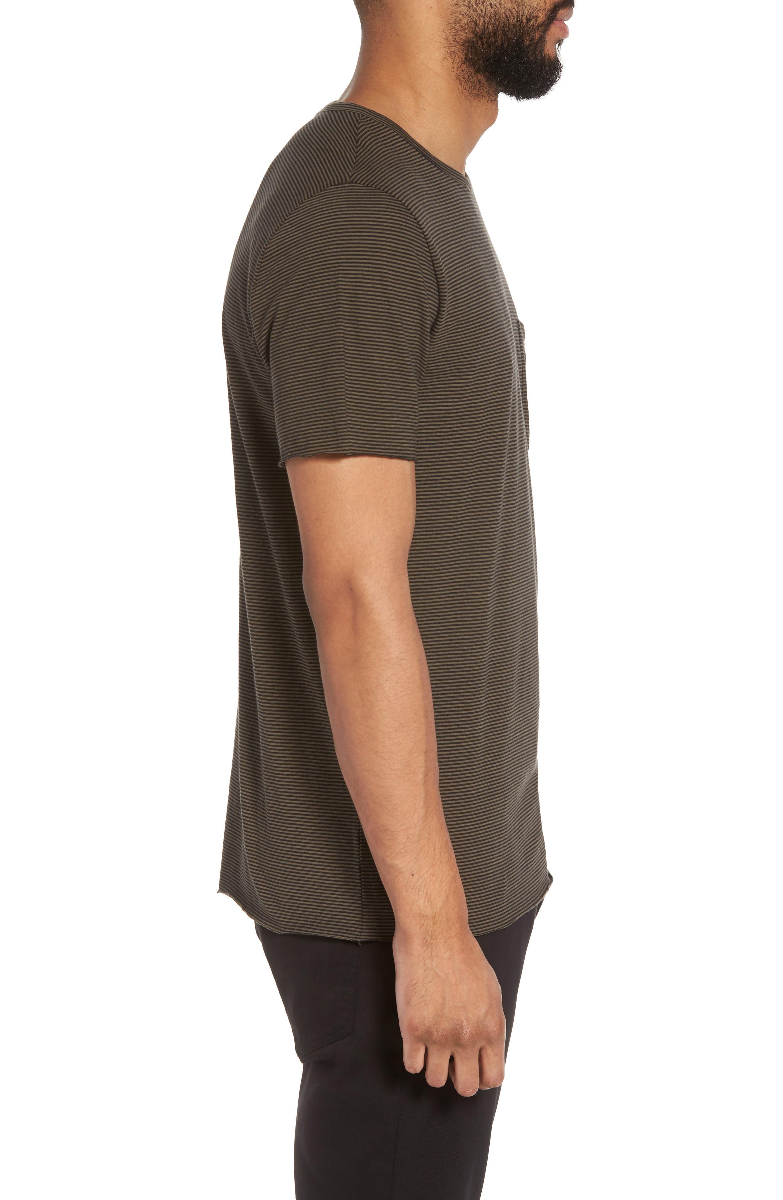 Slim Fit Stripe Pocket T-Shirt,                             Alternate thumbnail 3, color,                             Black/ Camp Green