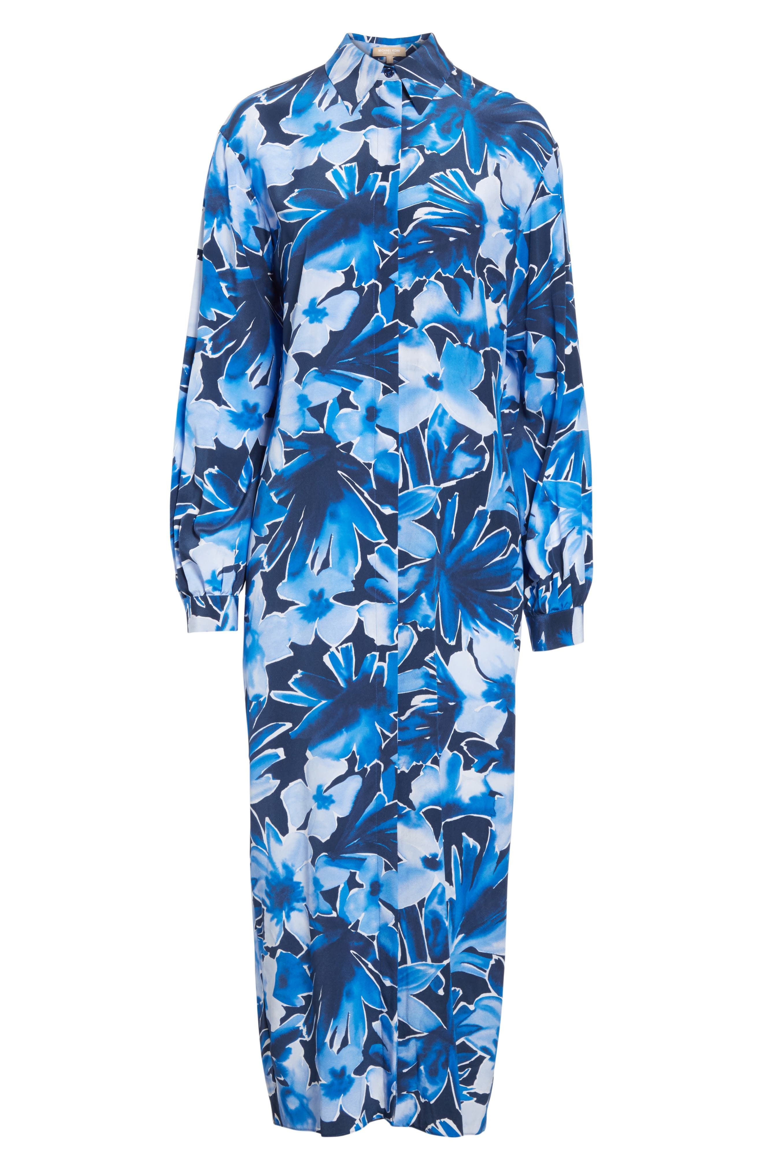 Floral Silk Sarong Dress,                             Alternate thumbnail 7, color,                             Maritime Multi