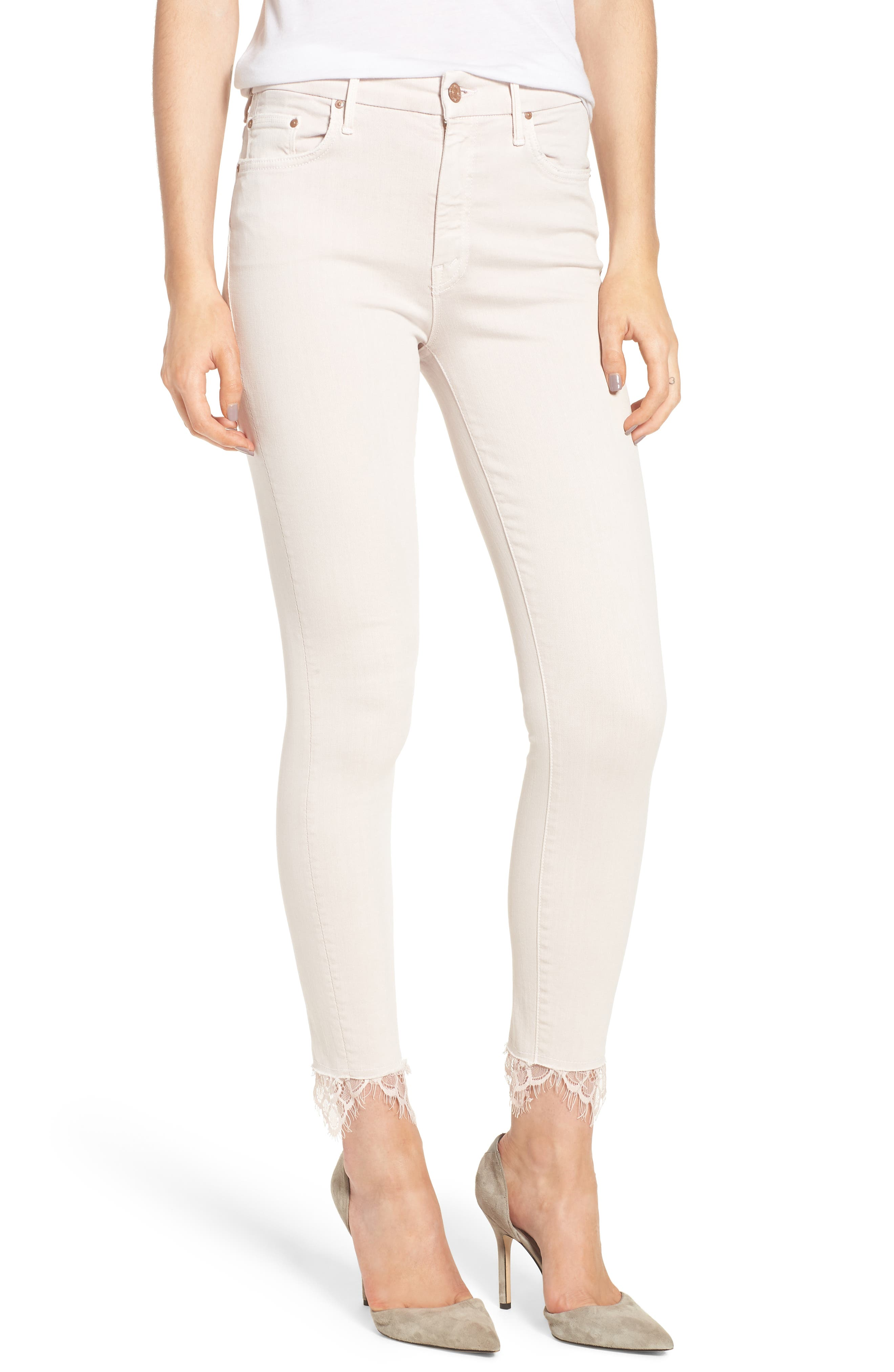 The Looker Dagger High Waist Ankle Skinny Jeans,                             Main thumbnail 1, color,                             Blush