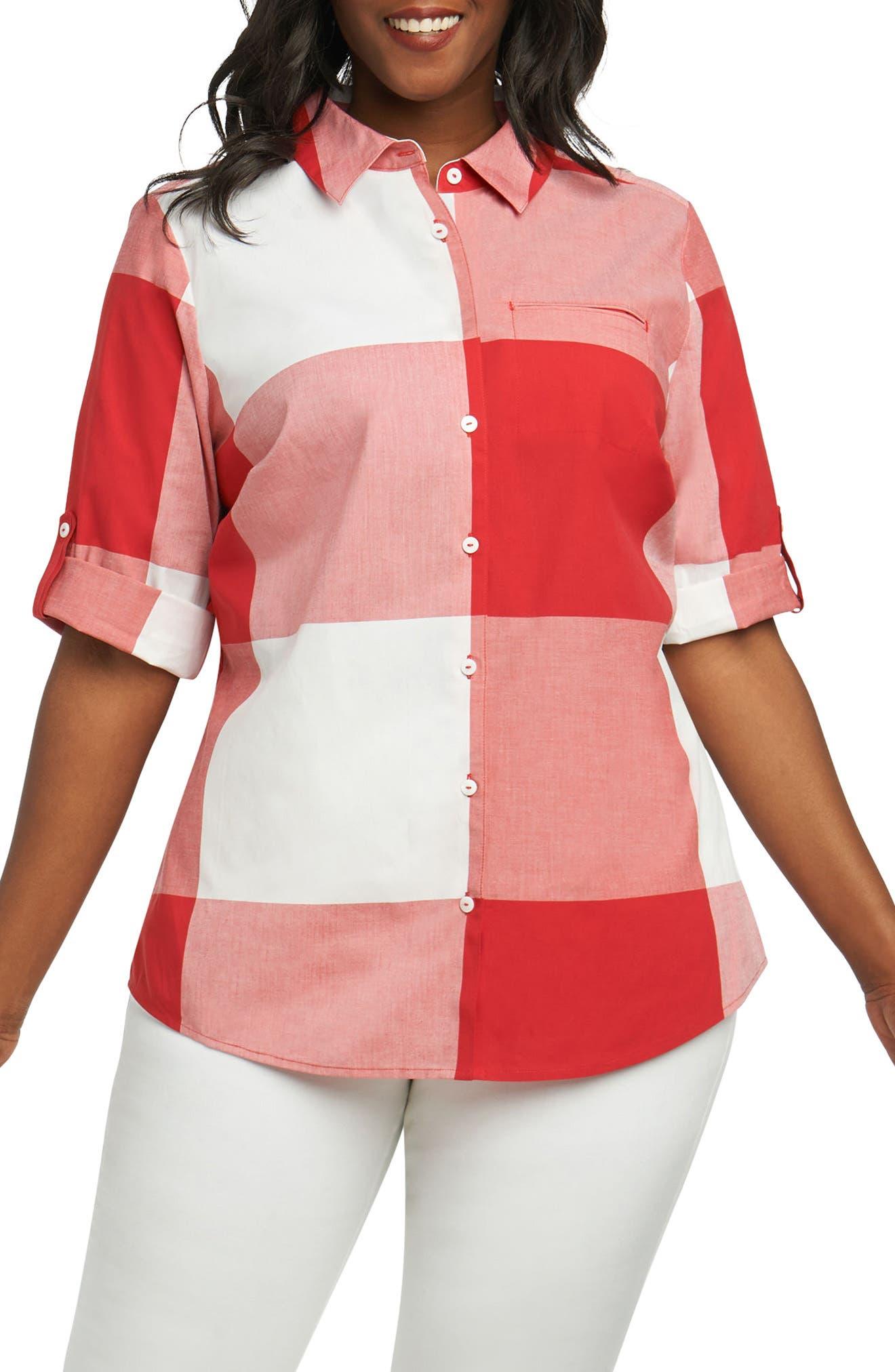 Foxcroft Reese Gingham Shirt (Plus Size)
