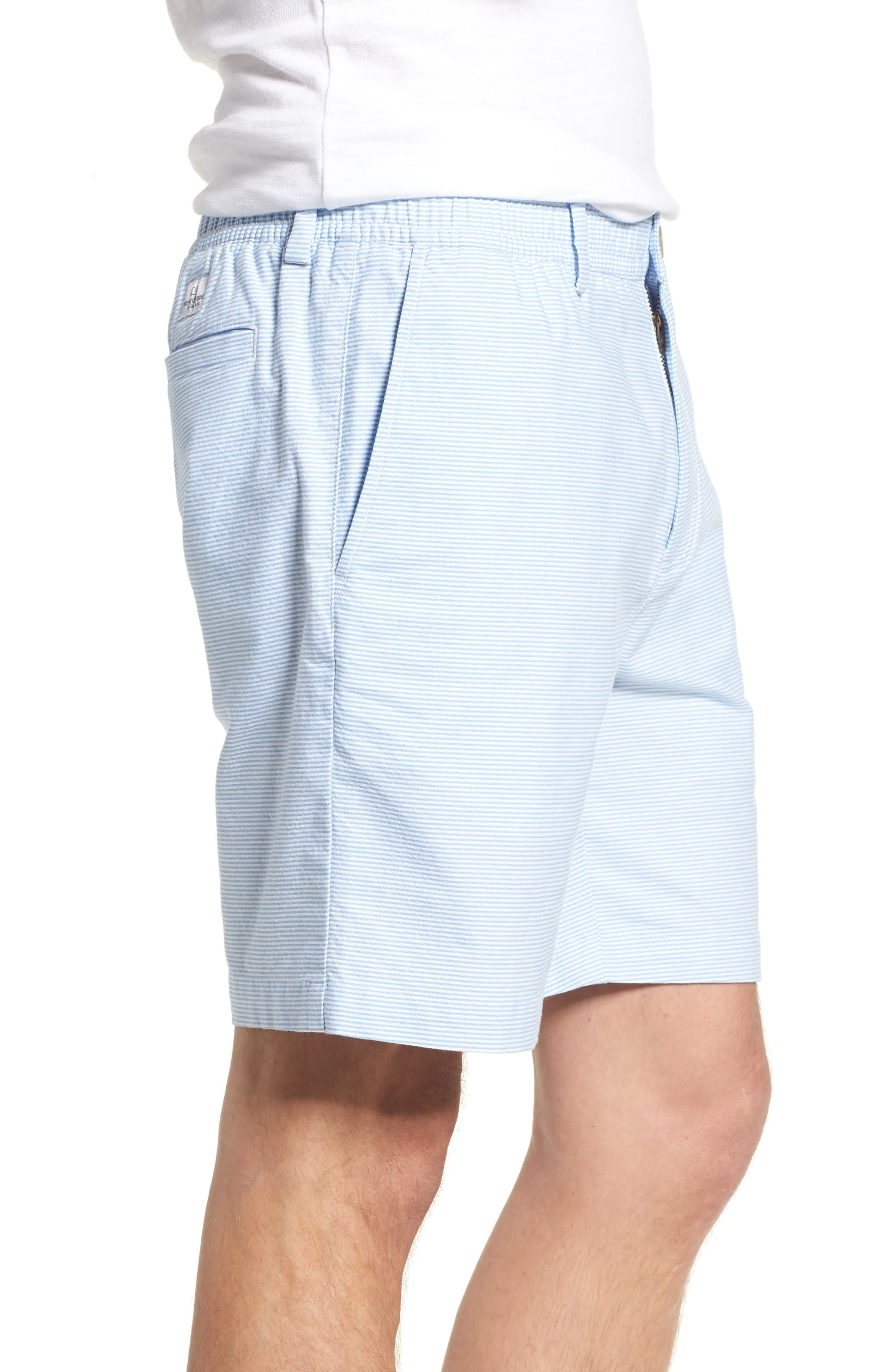 Jetty Stripe Stretch Cotton Shorts,                             Alternate thumbnail 3, color,                             Ocean Breeze