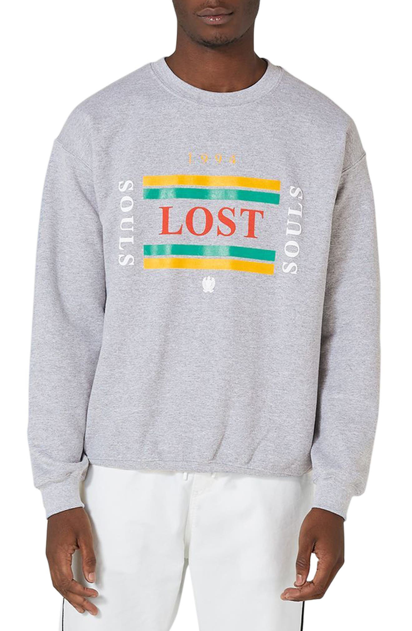 Lost Souls Graphic Sweatshirt,                             Main thumbnail 1, color,                             Light Grey