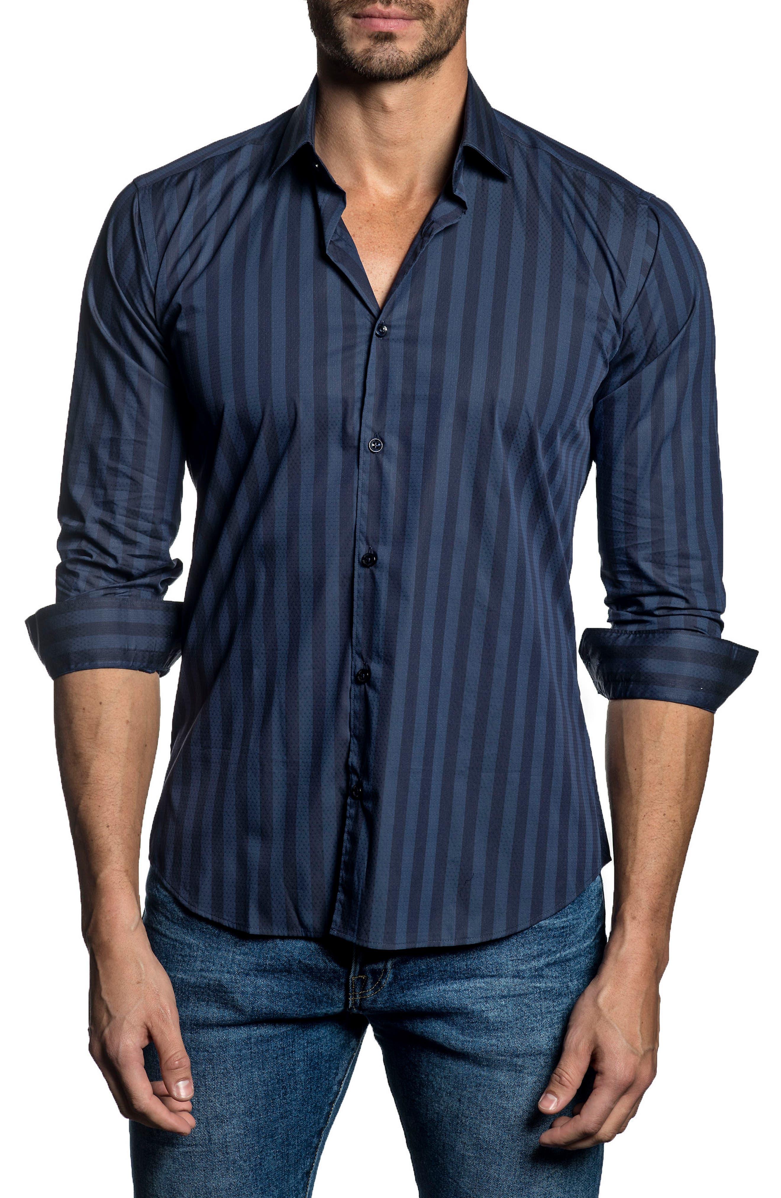 Trim Fit Vertical Stripe Sport Shirt,                         Main,                         color, Blue Stripes