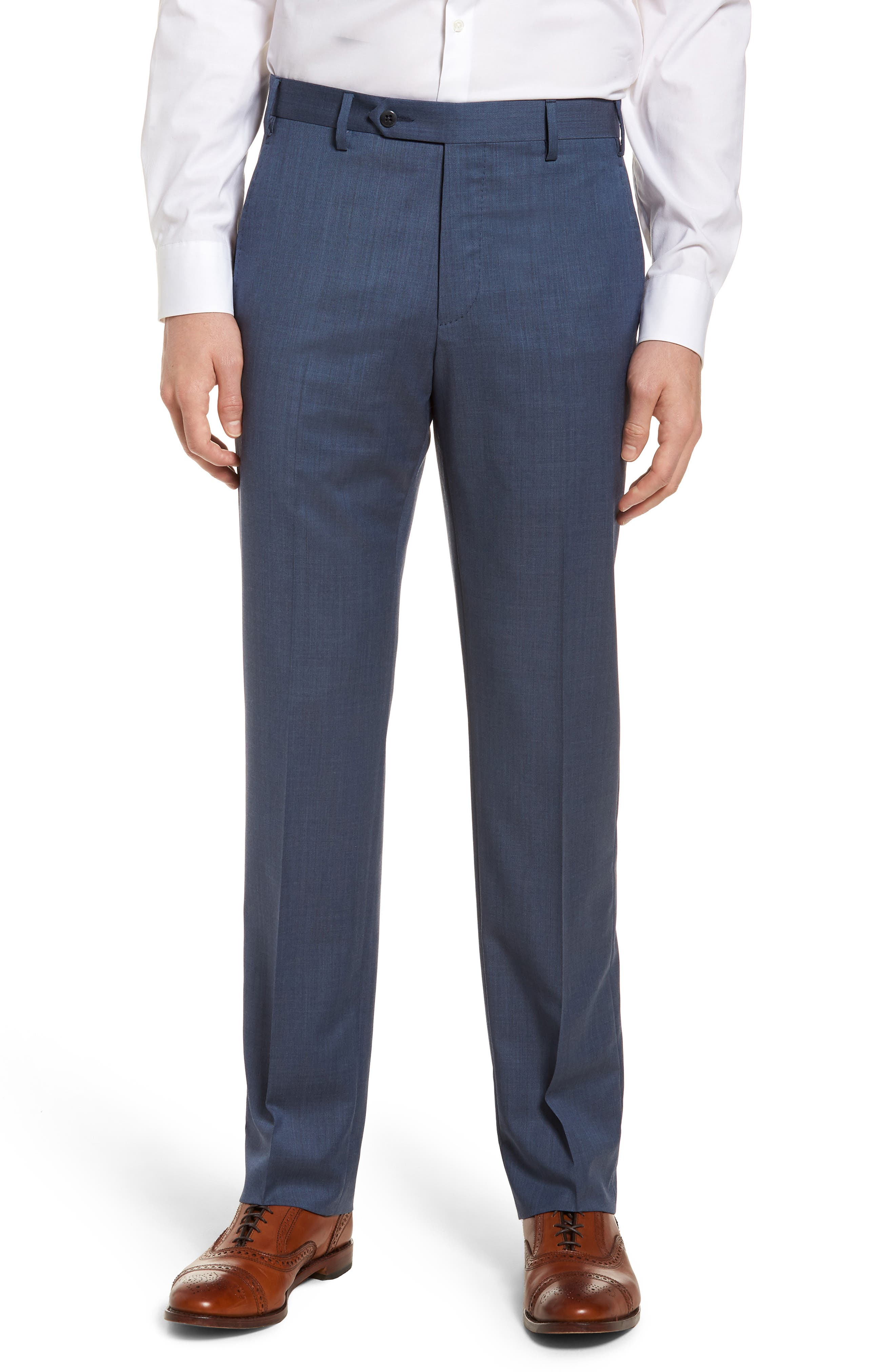Devon Flat Front Solid Wool Serge Trousers,                         Main,                         color, Blue