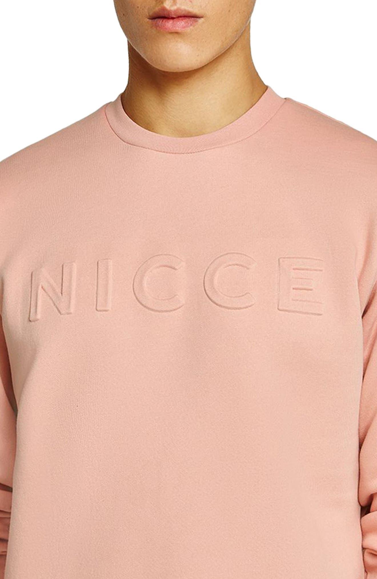 NICCE Slim Fit Embossed Sweatshirt,                             Alternate thumbnail 3, color,                             Pink