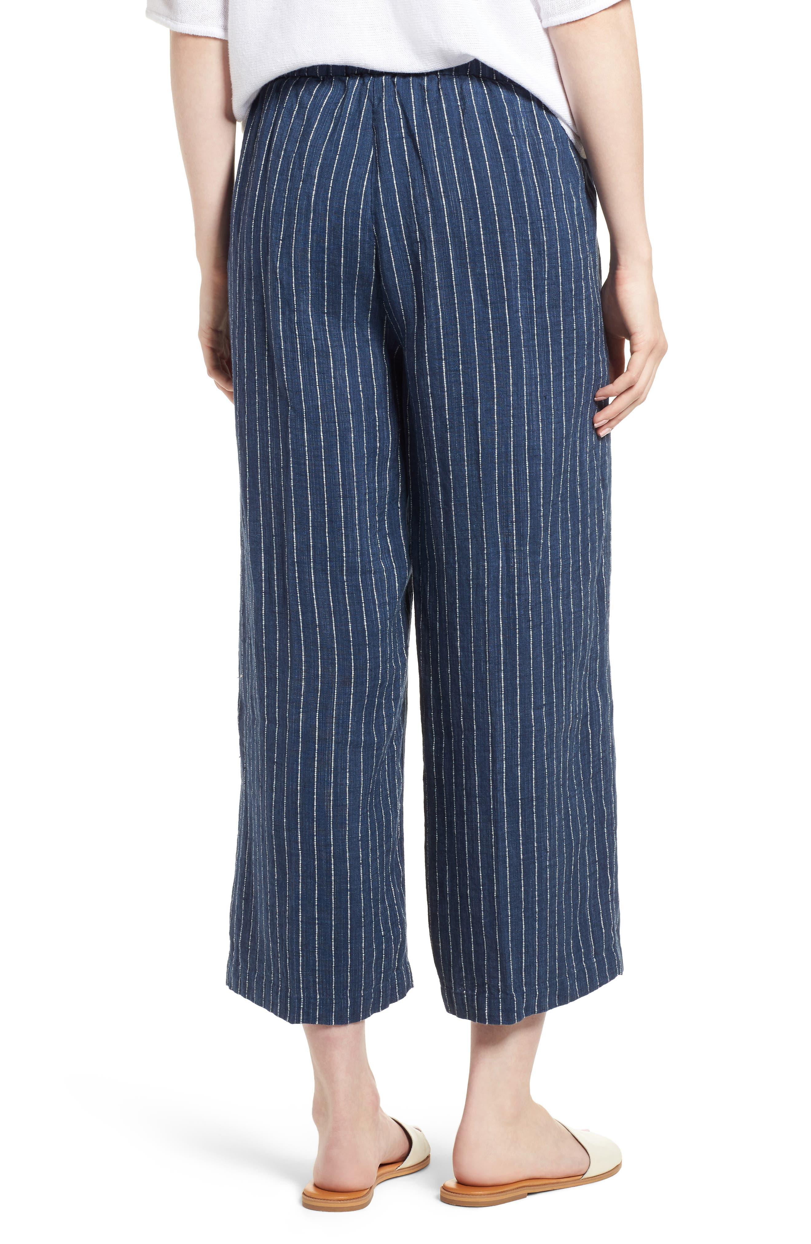 Stripe Linen Crop Pants,                             Alternate thumbnail 2, color,                             Denim