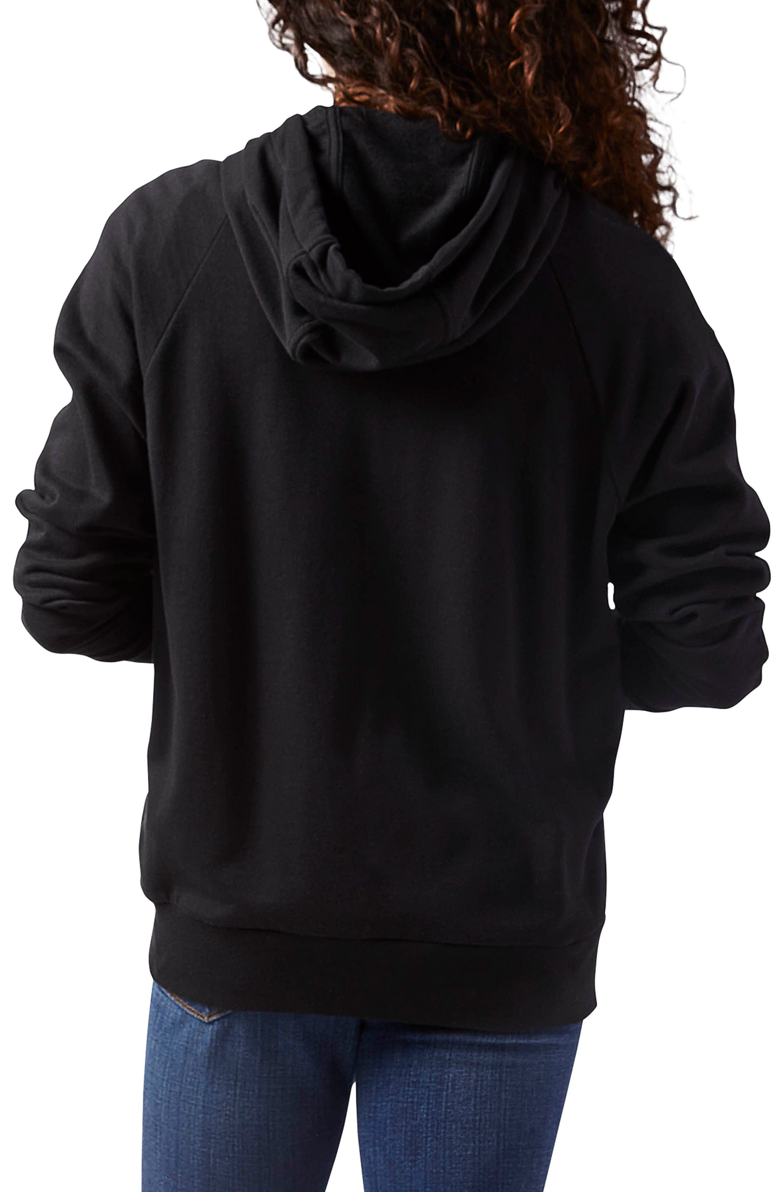 Full Zip French Terry Hoodie,                             Alternate thumbnail 2, color,                             Black