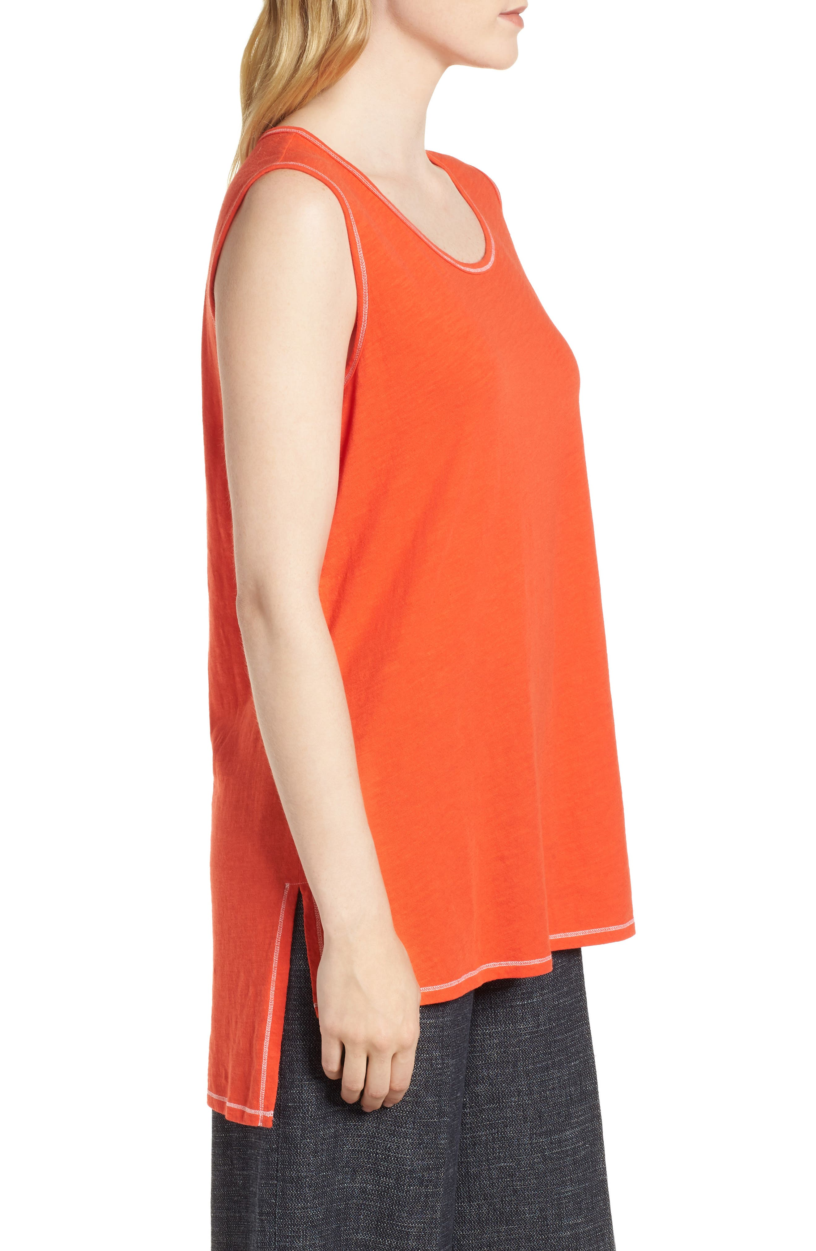 Organic Cotton Tunic,                             Alternate thumbnail 3, color,                             Hot Red