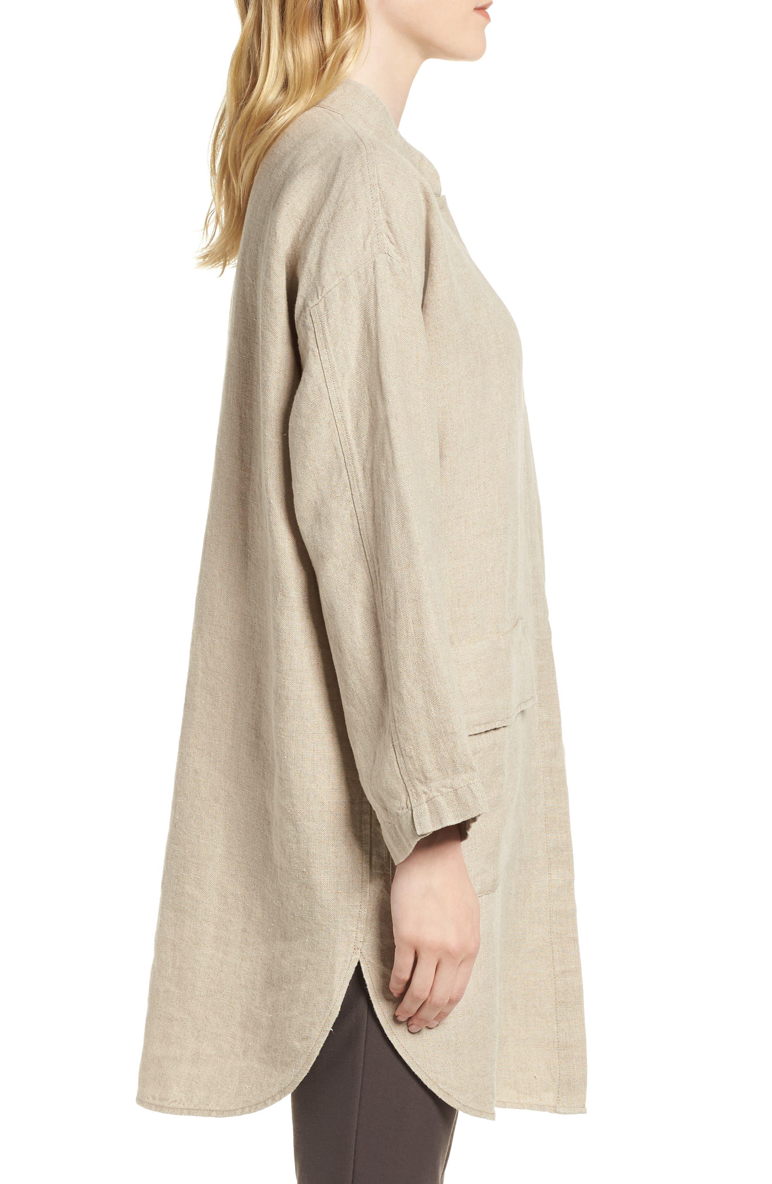 Organic Linen Jacket,                             Alternate thumbnail 3, color,                             Undyed Natural
