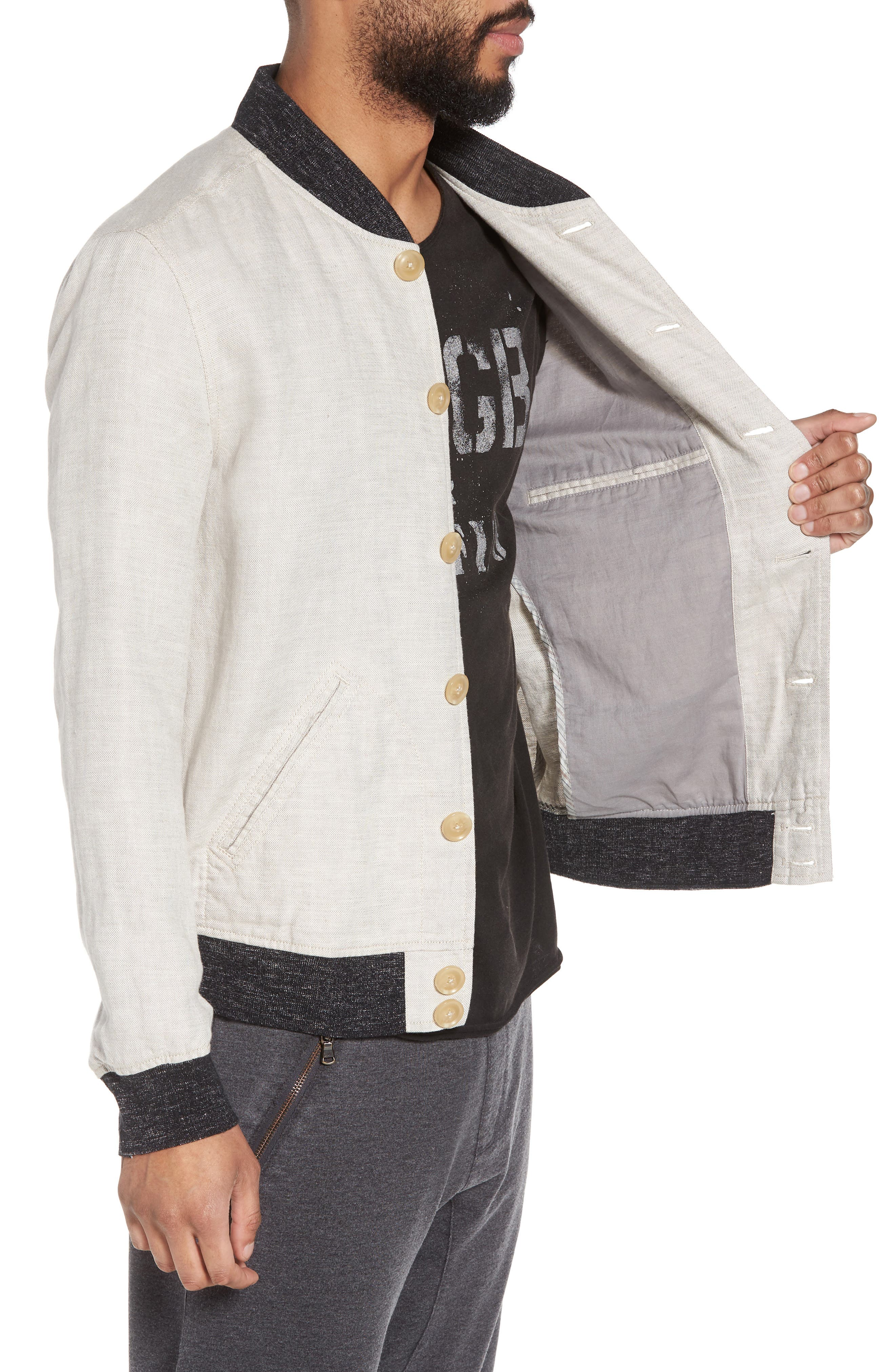 Aged Bomber Jacket,                             Alternate thumbnail 4, color,                             Fossil Grey