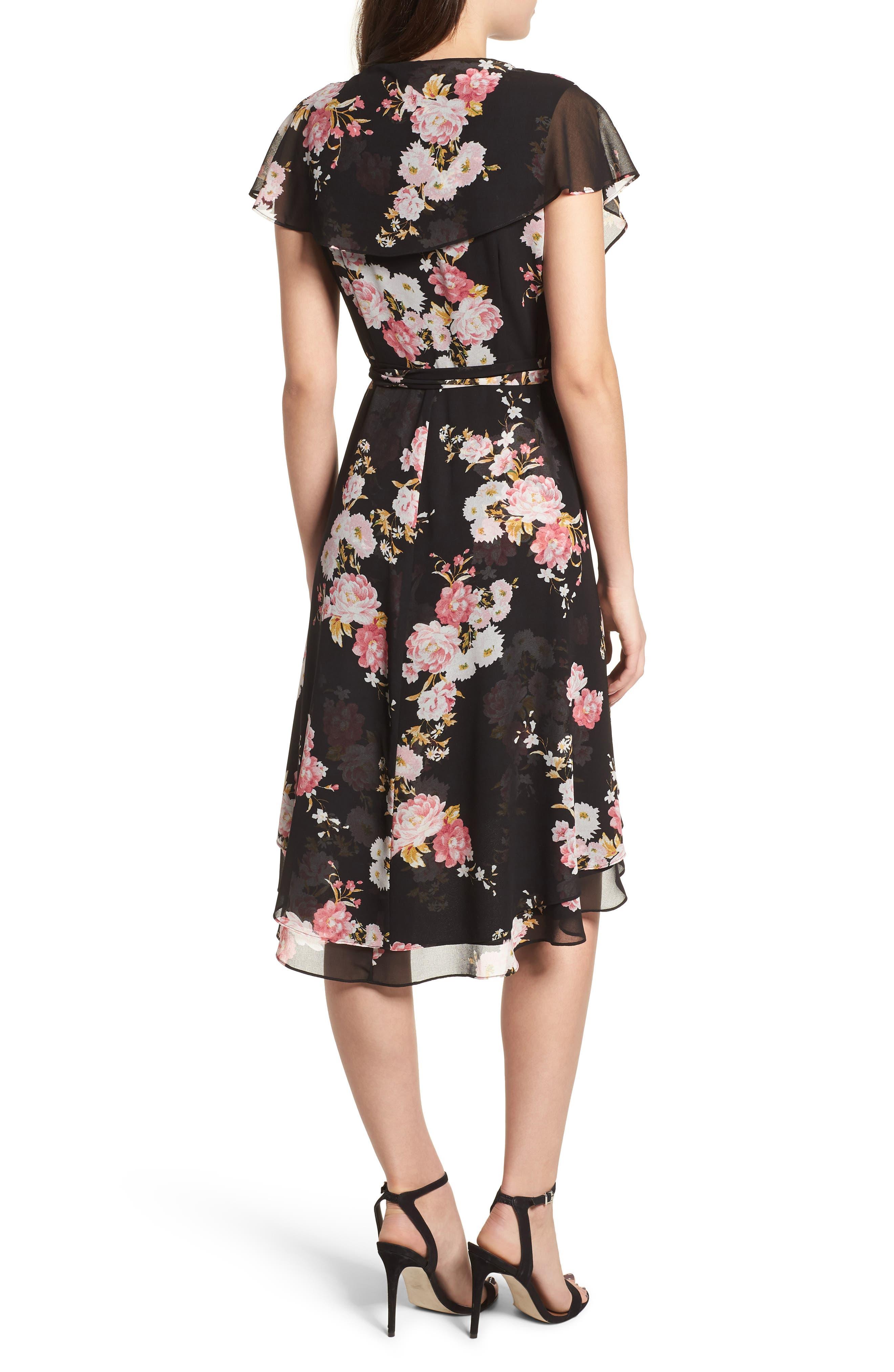 Polermo Wrap Midi Dress,                             Alternate thumbnail 2, color,                             Black Floral