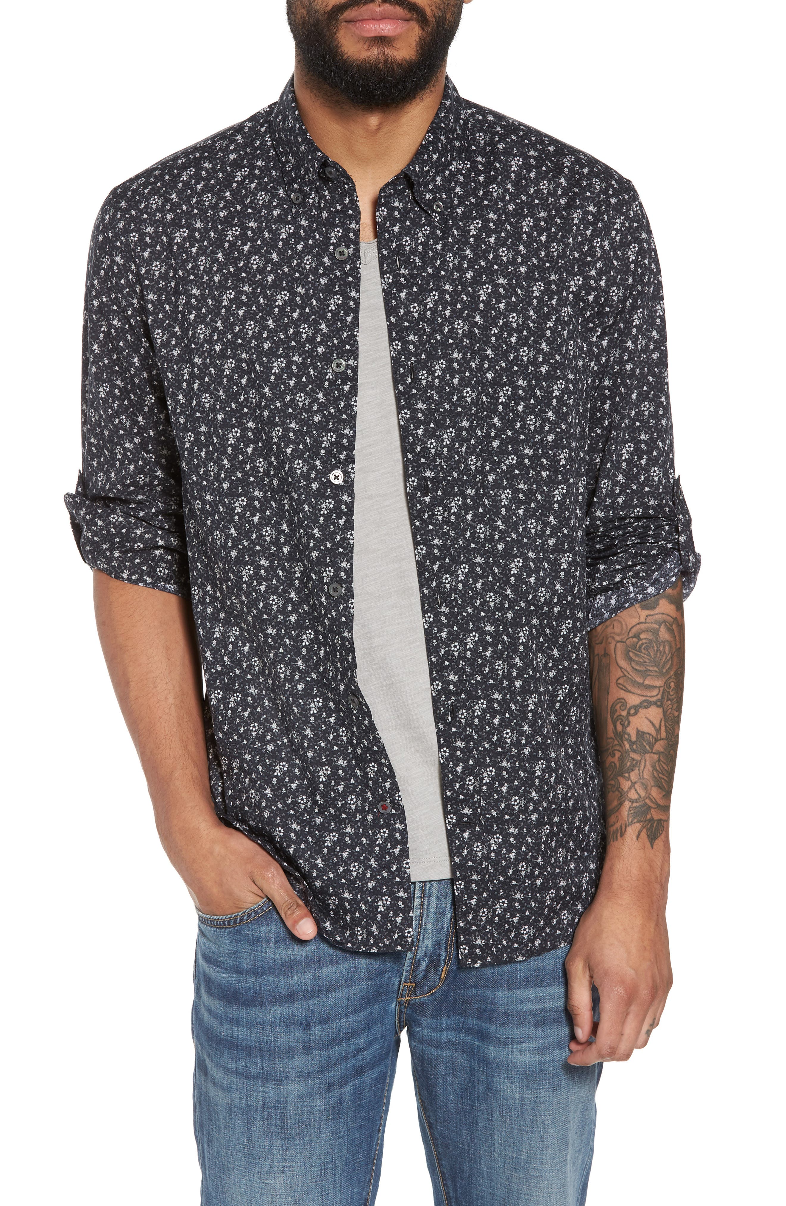 Extra Slim Fit Sport Shirt,                         Main,                         color, Charcoal