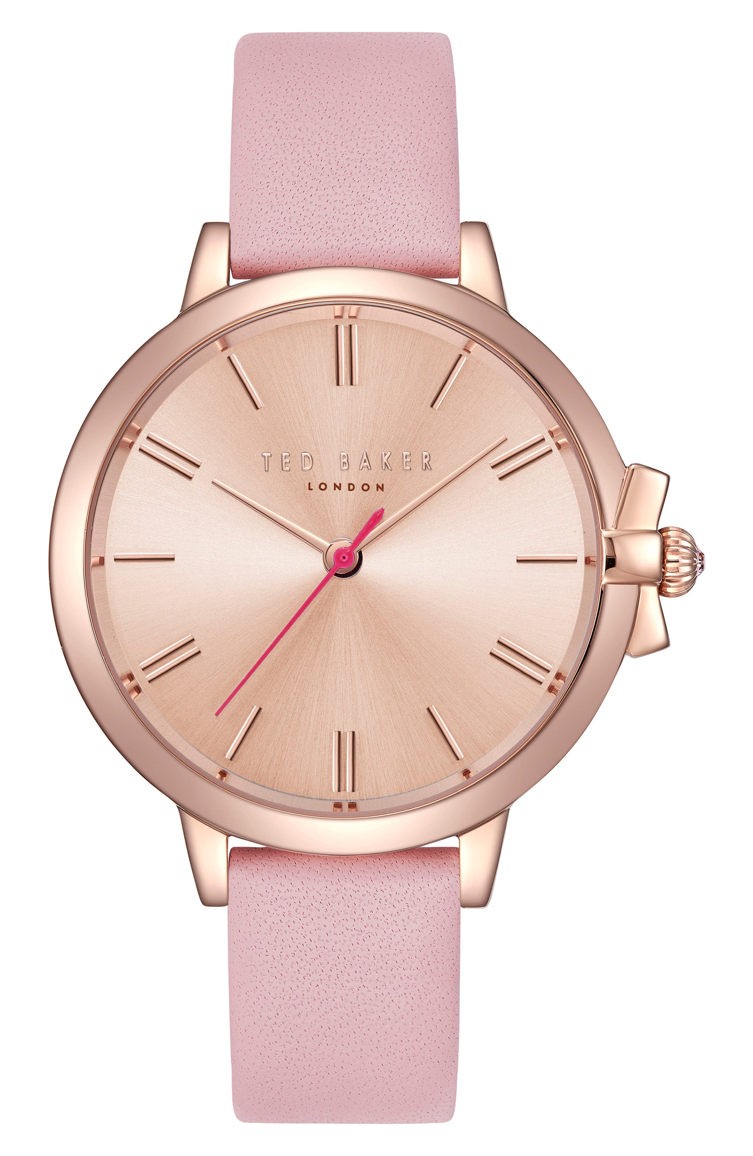 Leather Strap Watch, 36mm,                         Main,                         color, Pink/ Rose Gold